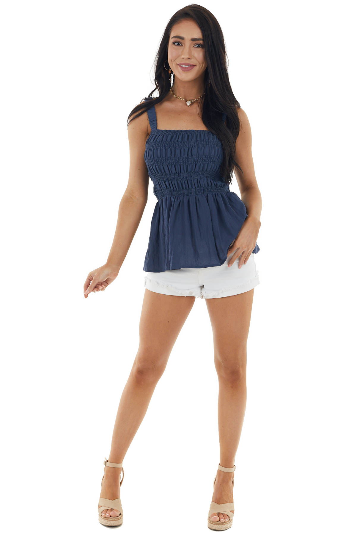 Dusty Navy Top with Smocked Bodice and Strappy Back Detail