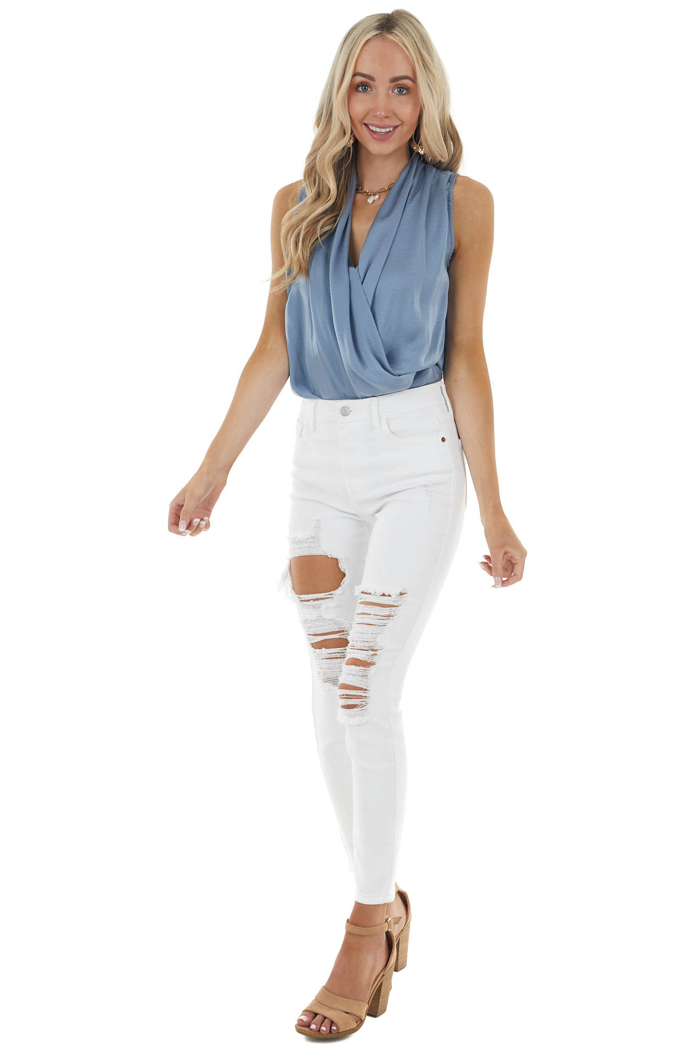 Powder Blue Sleeveless Surplice Top with Draped Front