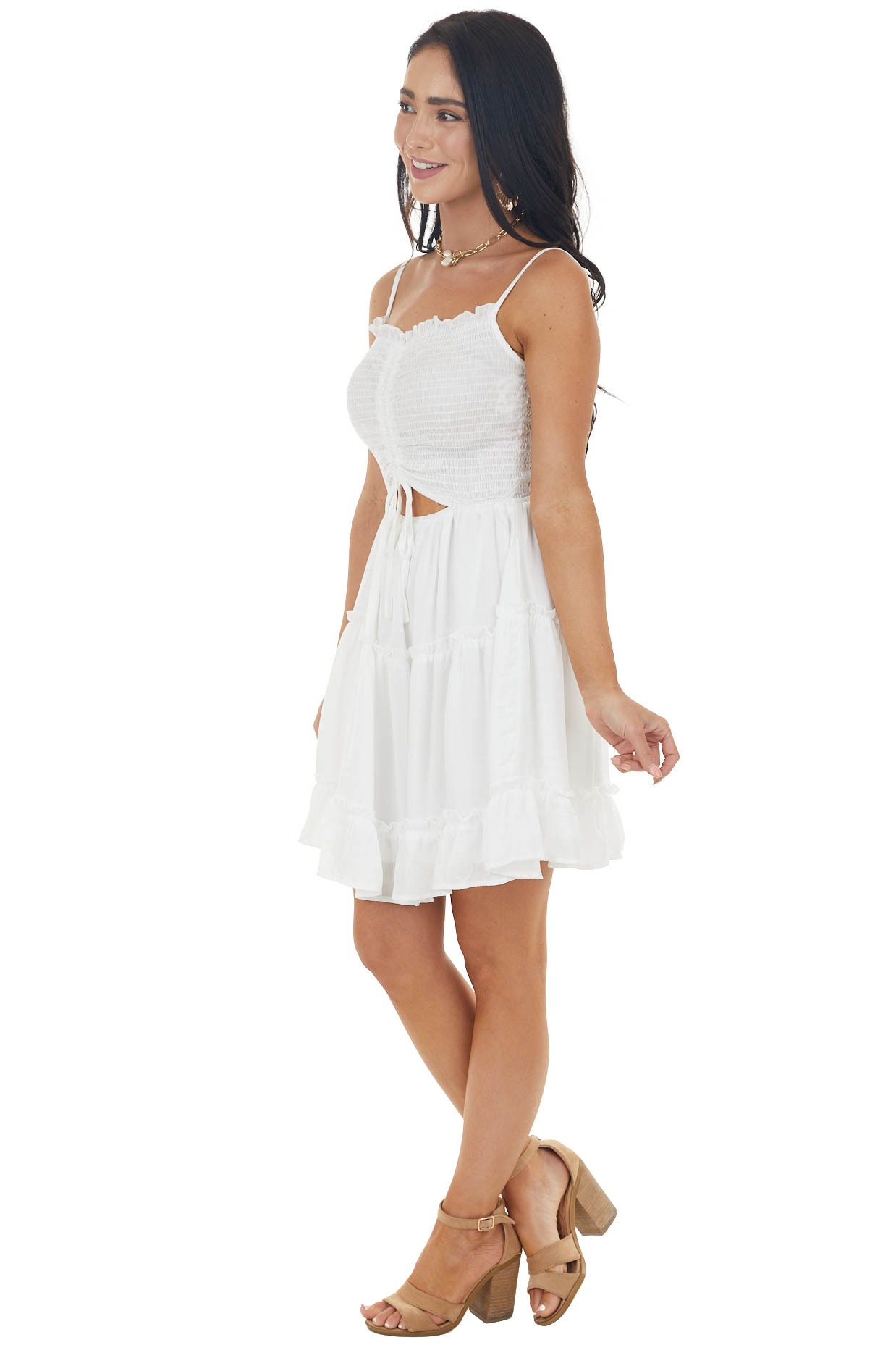 Ivory Sleeveless Silky Tiered Dress with Smocked Bust