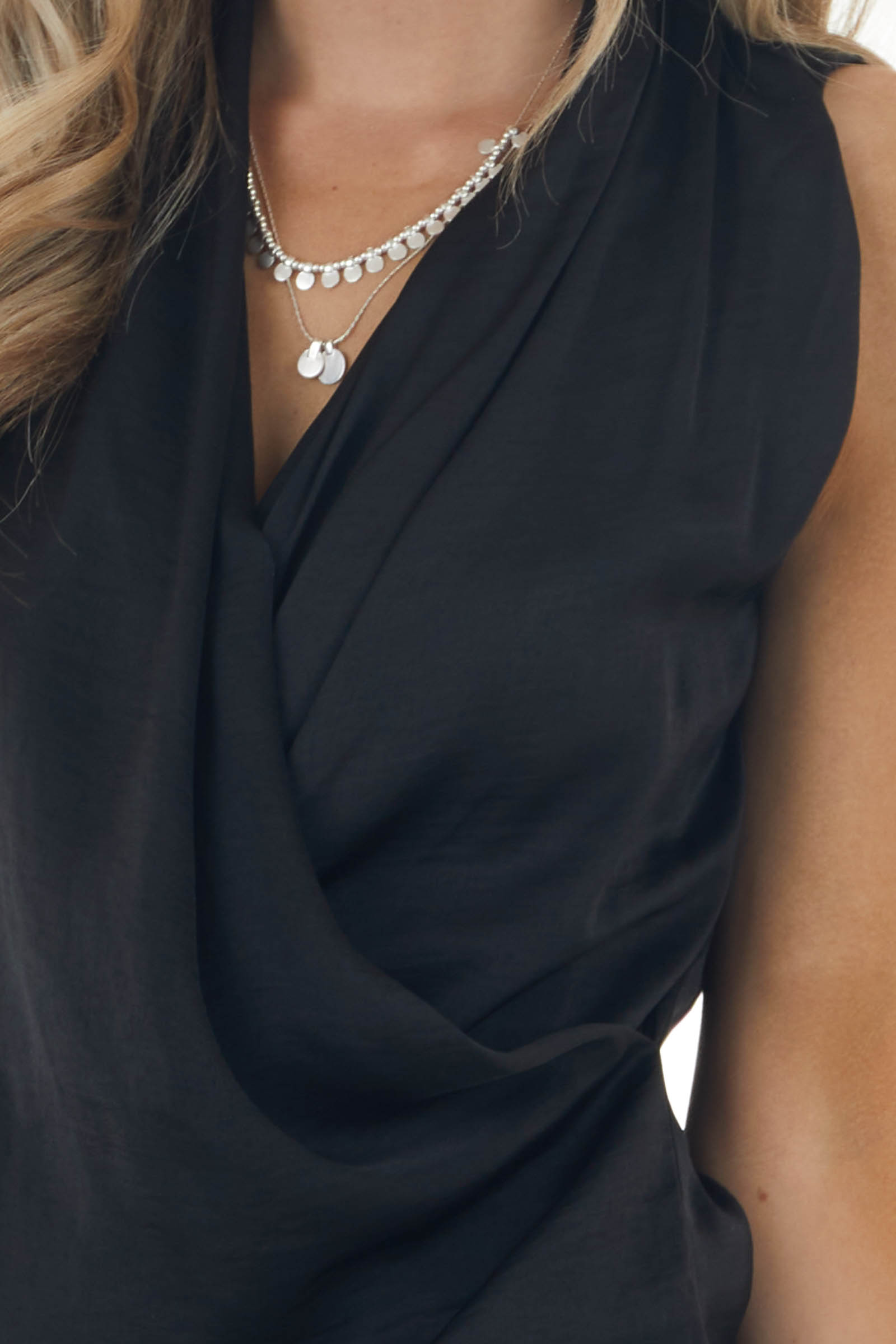 Black Sleeveless Surplice Top with Draped Front