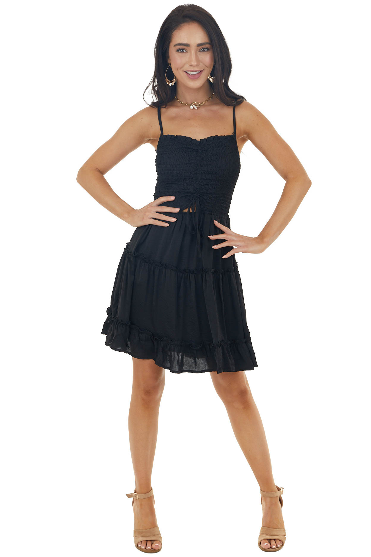 Black Sleeveless Silky Tiered Dress with Smocked Bust