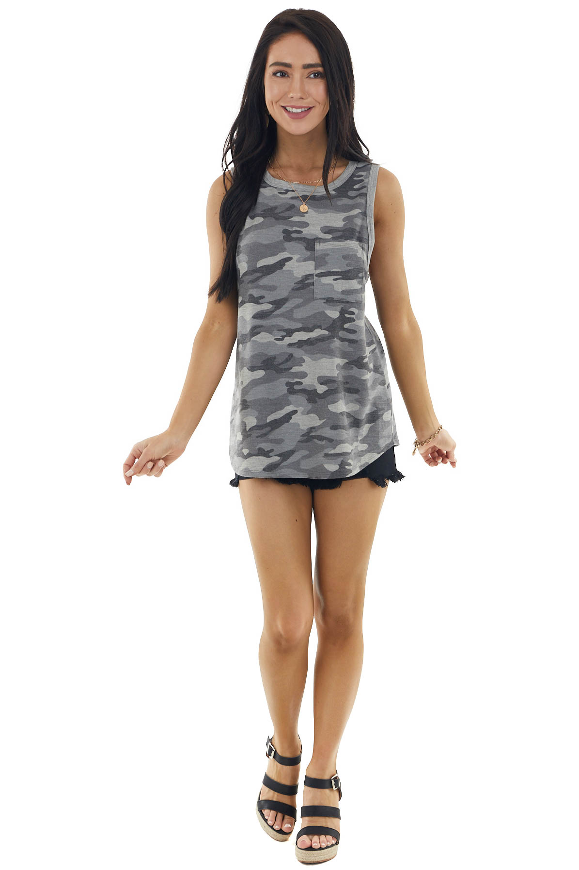 Stone Grey Camo Print Sleeveless Knit Top with Chest Pocket