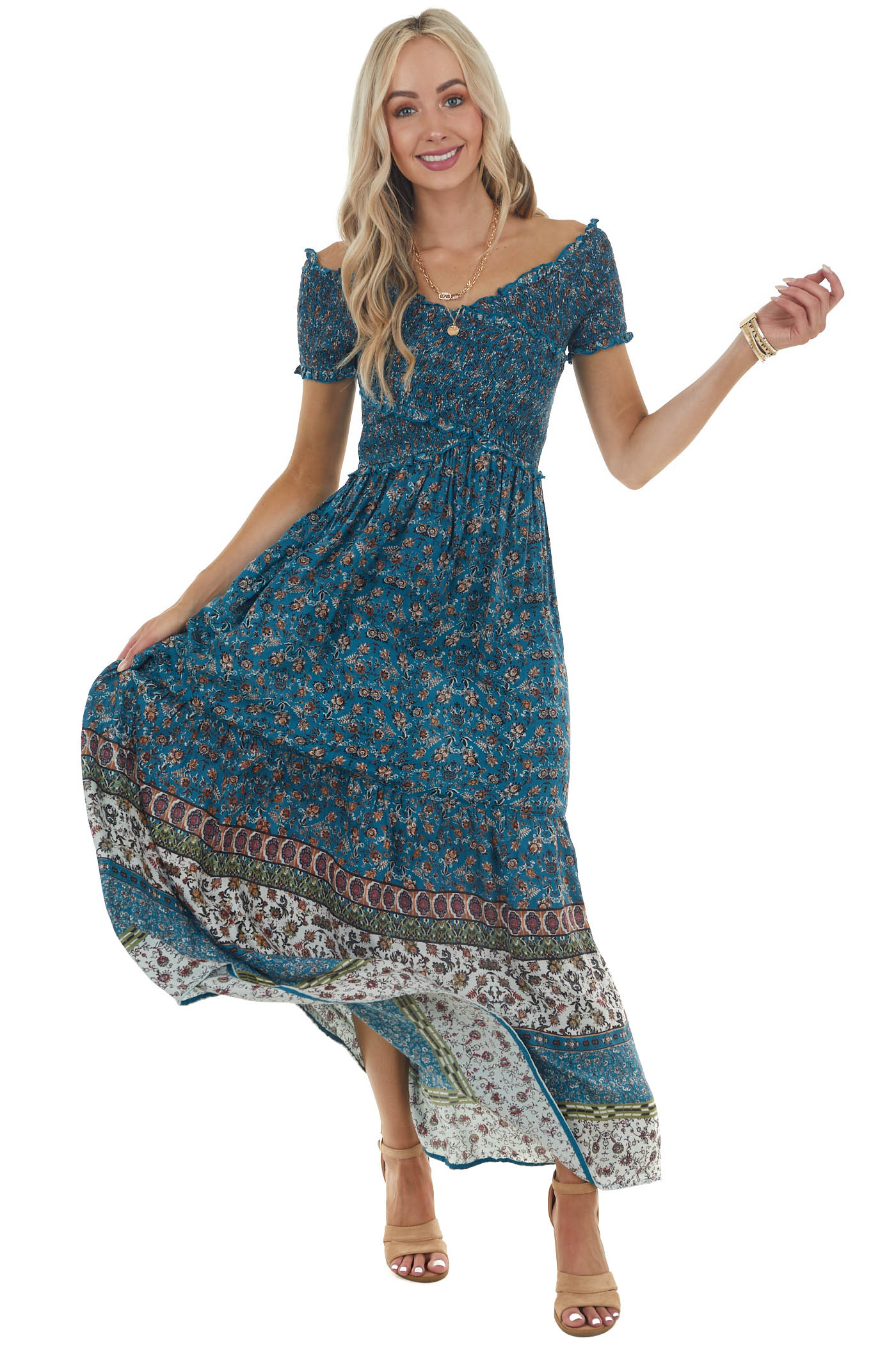 Dark Teal Printed Woven Criss Cross Smocked Maxi Dress
