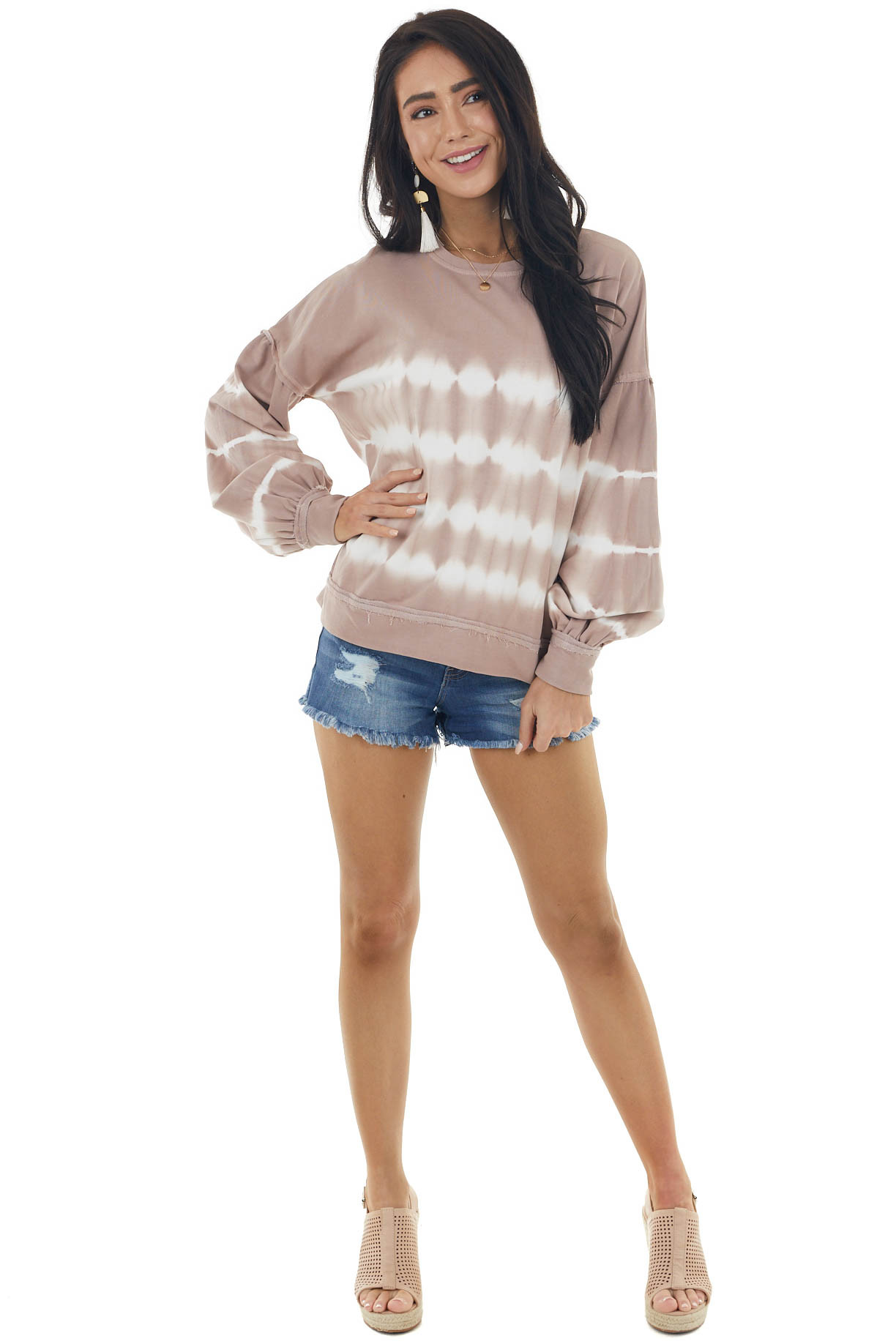Dusty Rose Tie Dye Knit Top with Long Bubble Sleeves