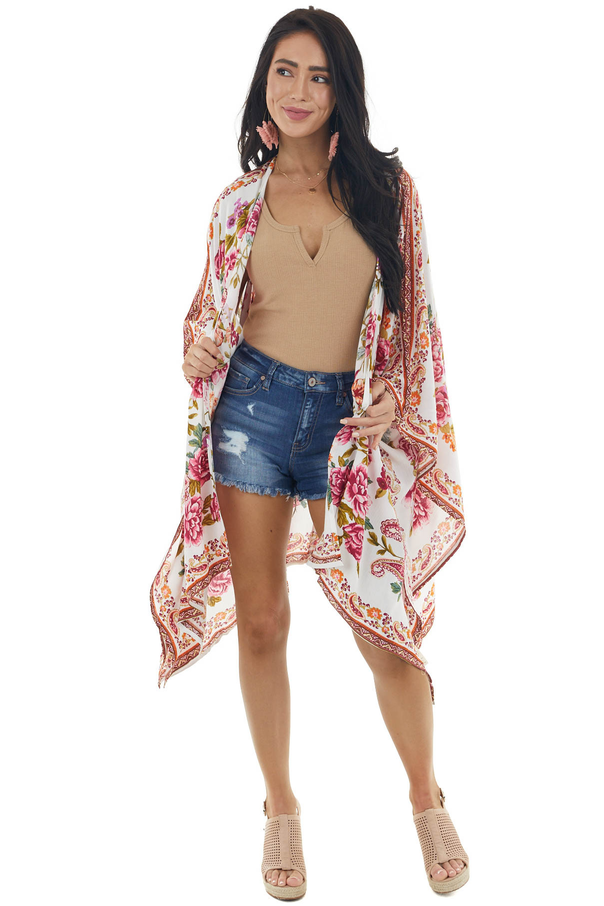 Ivory Floral and Paisley Print Lightweight Woven Open Kimono