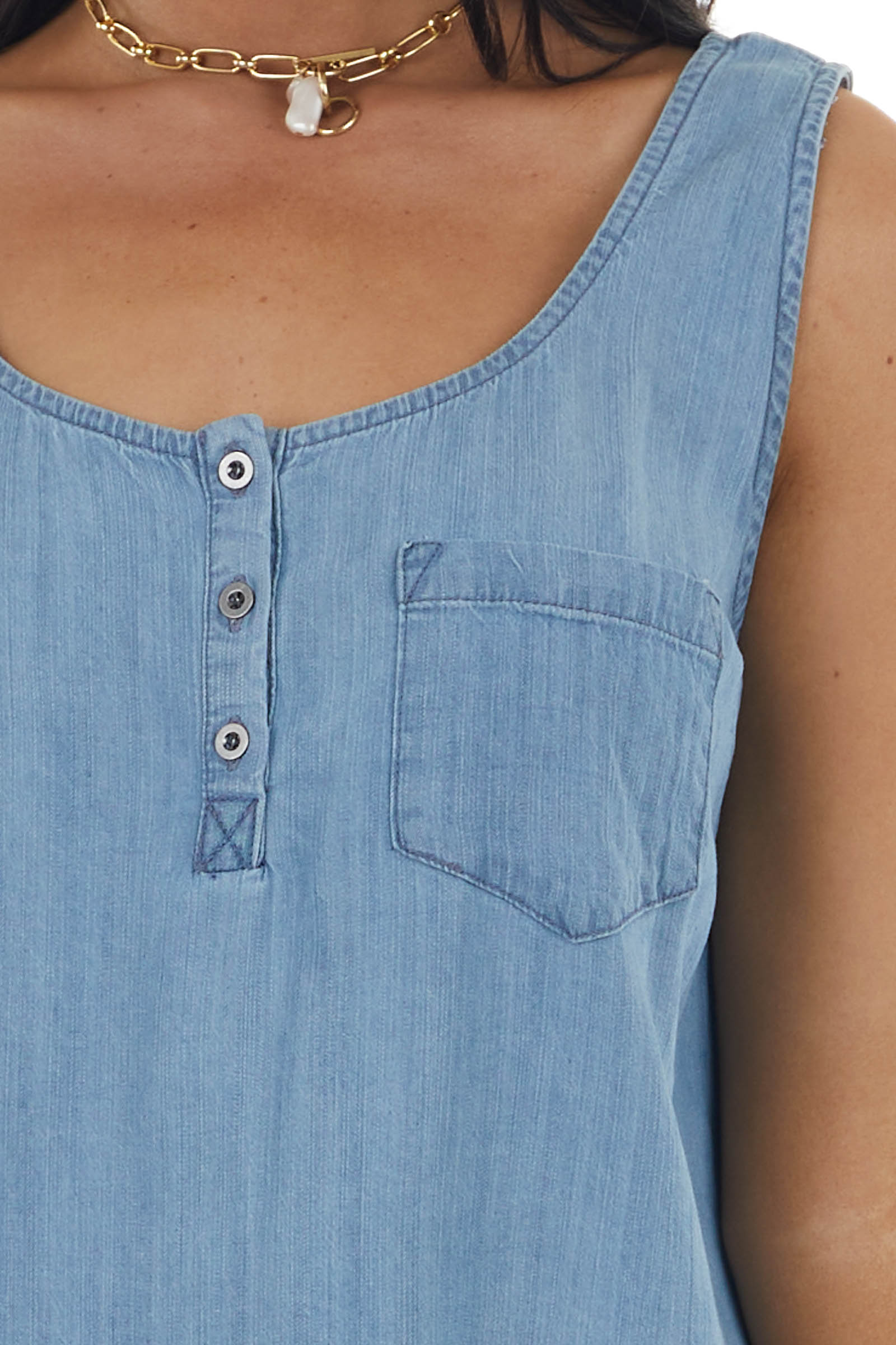 Light Wash Henley Chambray Woven Tank Top with Chest Pocket