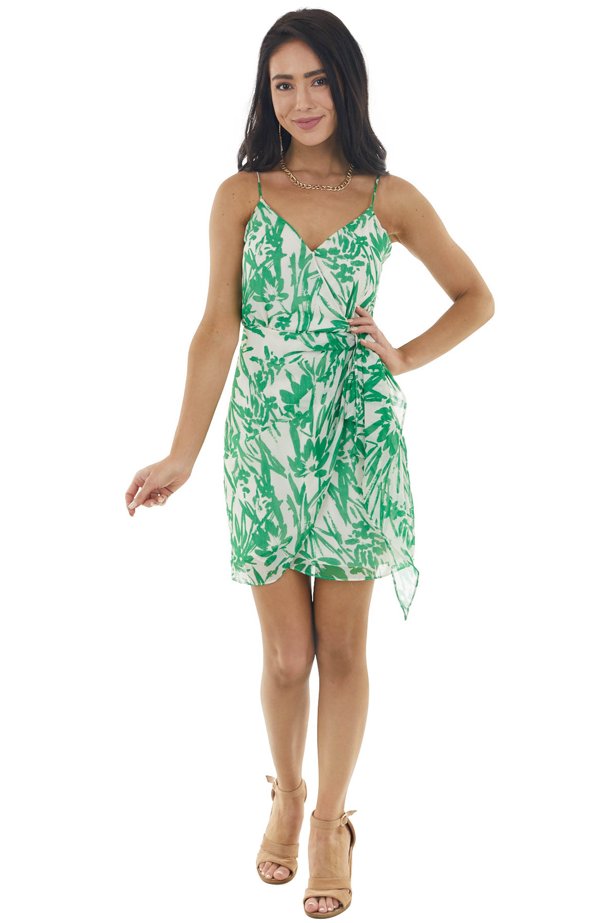 Kelly Green Floral Print Sleeveless Dress with Tie Detail