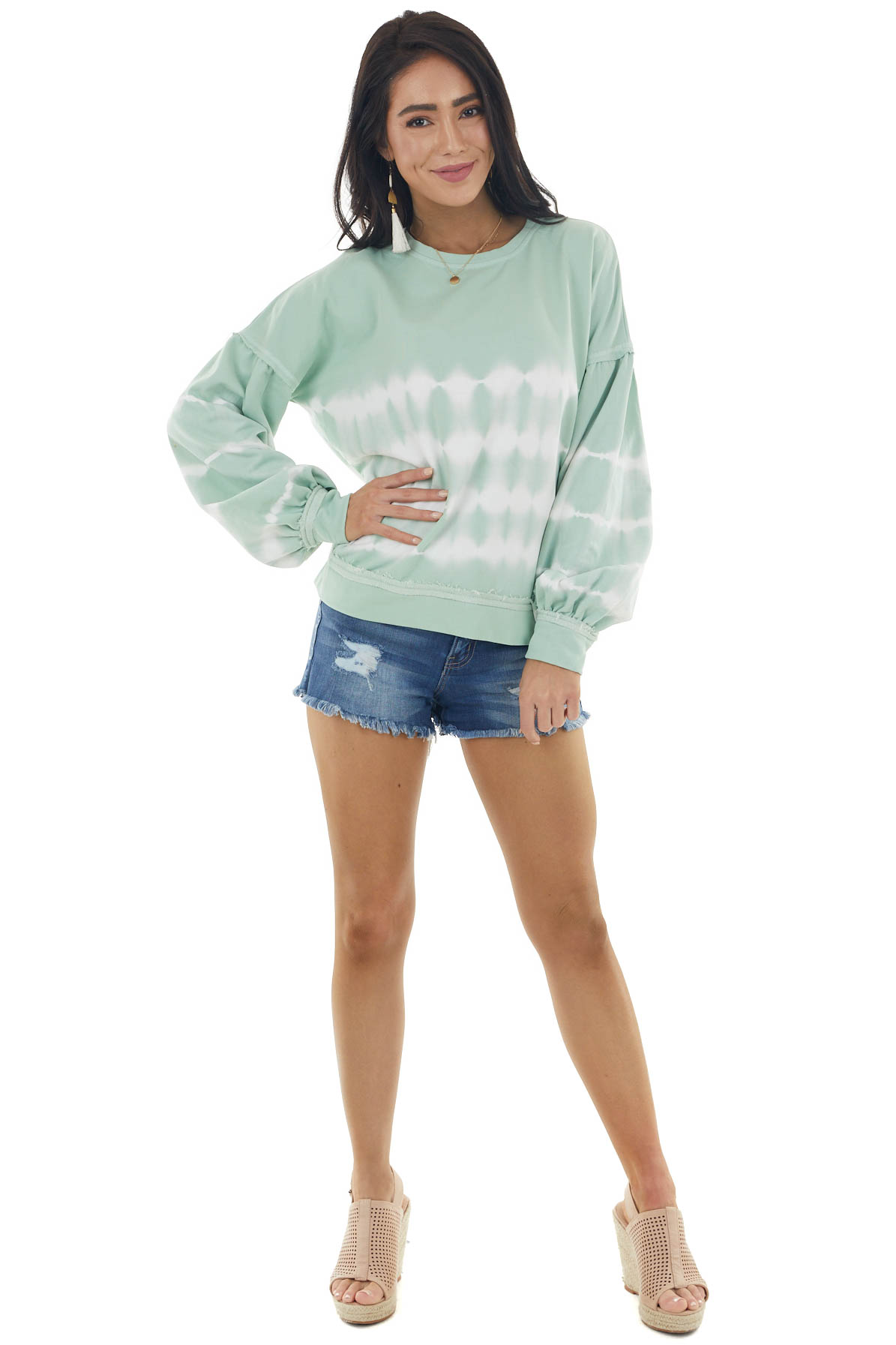Pistachio Tie Dye Knit Top with Long Bubble Sleeves