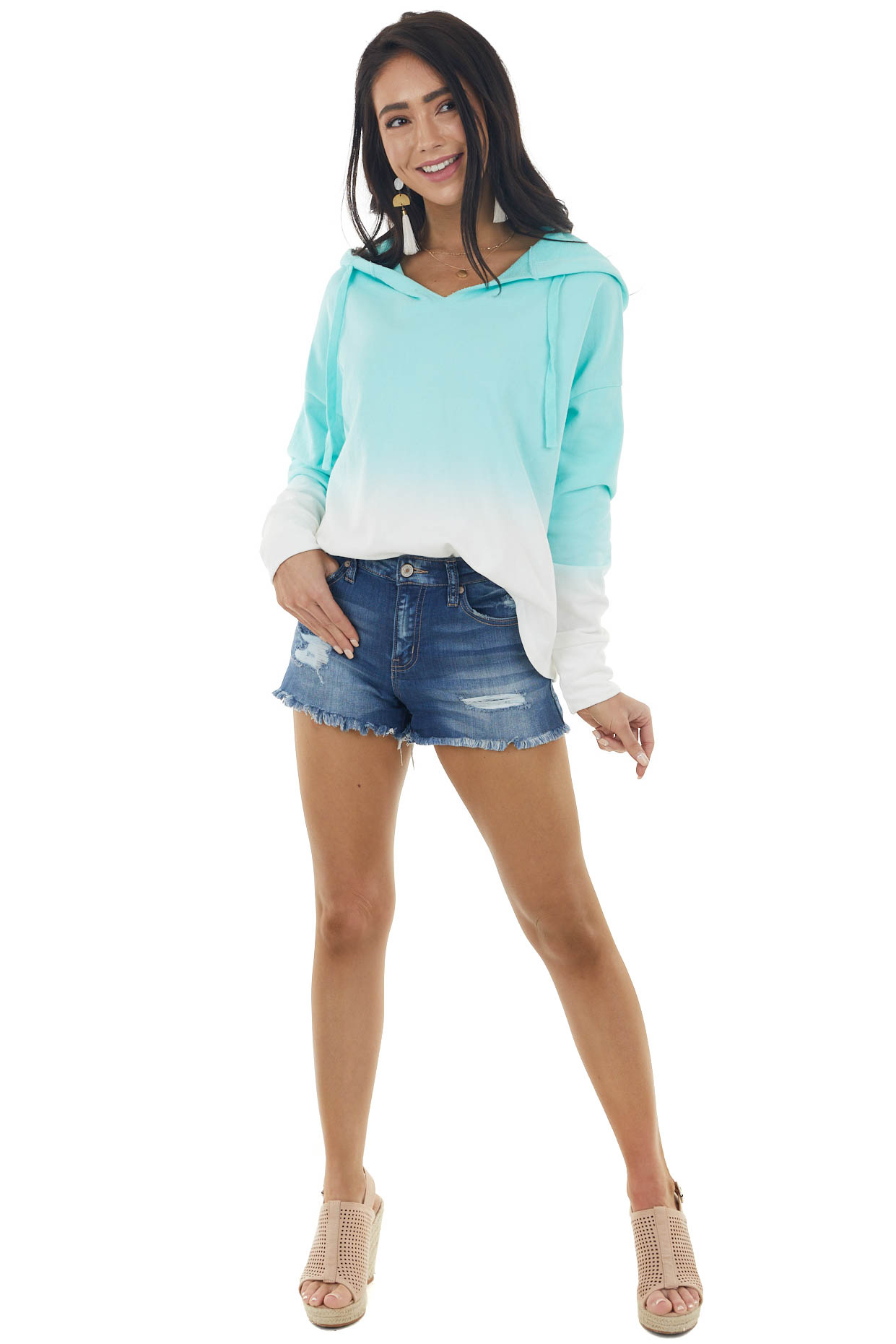 Turquoise and Ivory Ombre Long Sleeve Terry Knit Hoodie