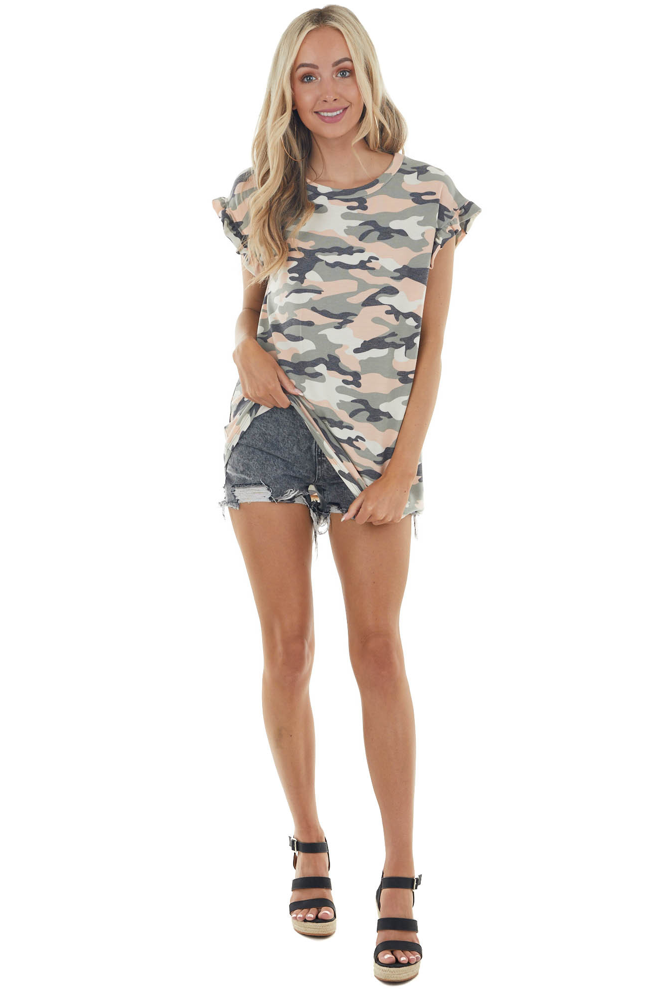 Peach Camo Print Knit Top with Short Ruffled Sleeve