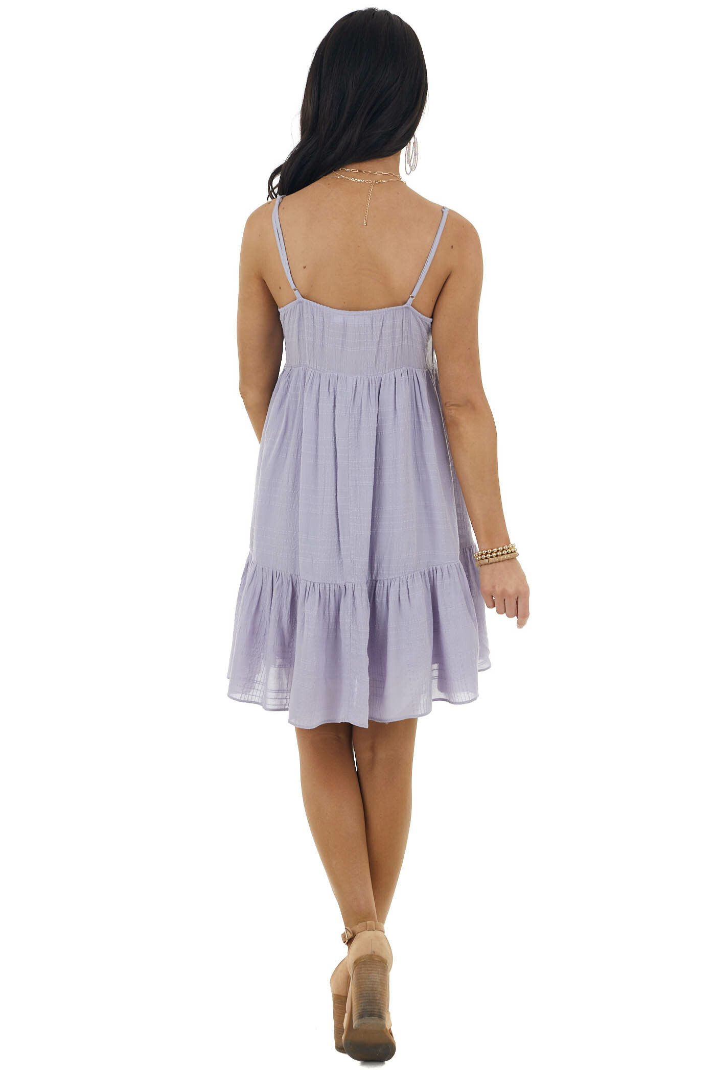 Faded Lavender Sleeveless Babydoll Tiered Woven Mini Dress