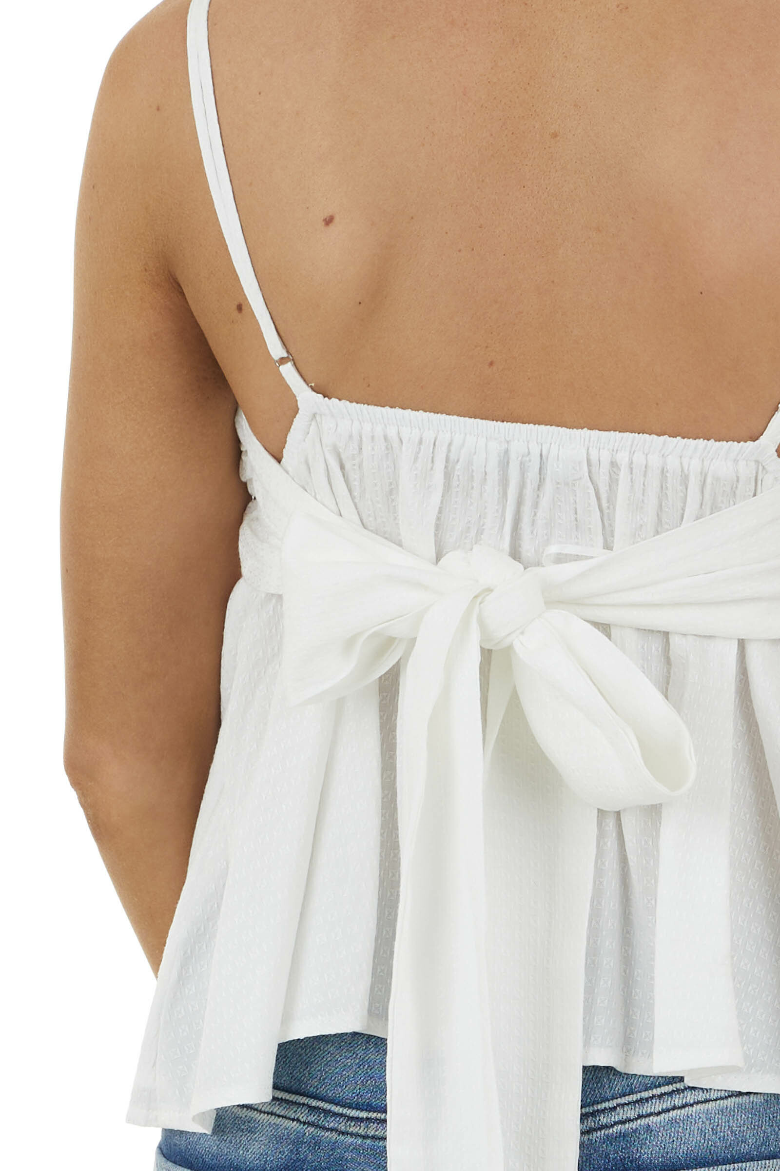Off White Textured Woven V Neck Cami with Back Tie Bow