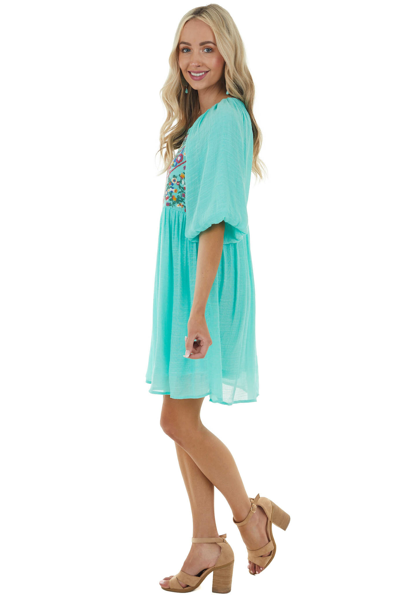 Aqua Floral Embroidered Bubble Sleeve Woven Dress