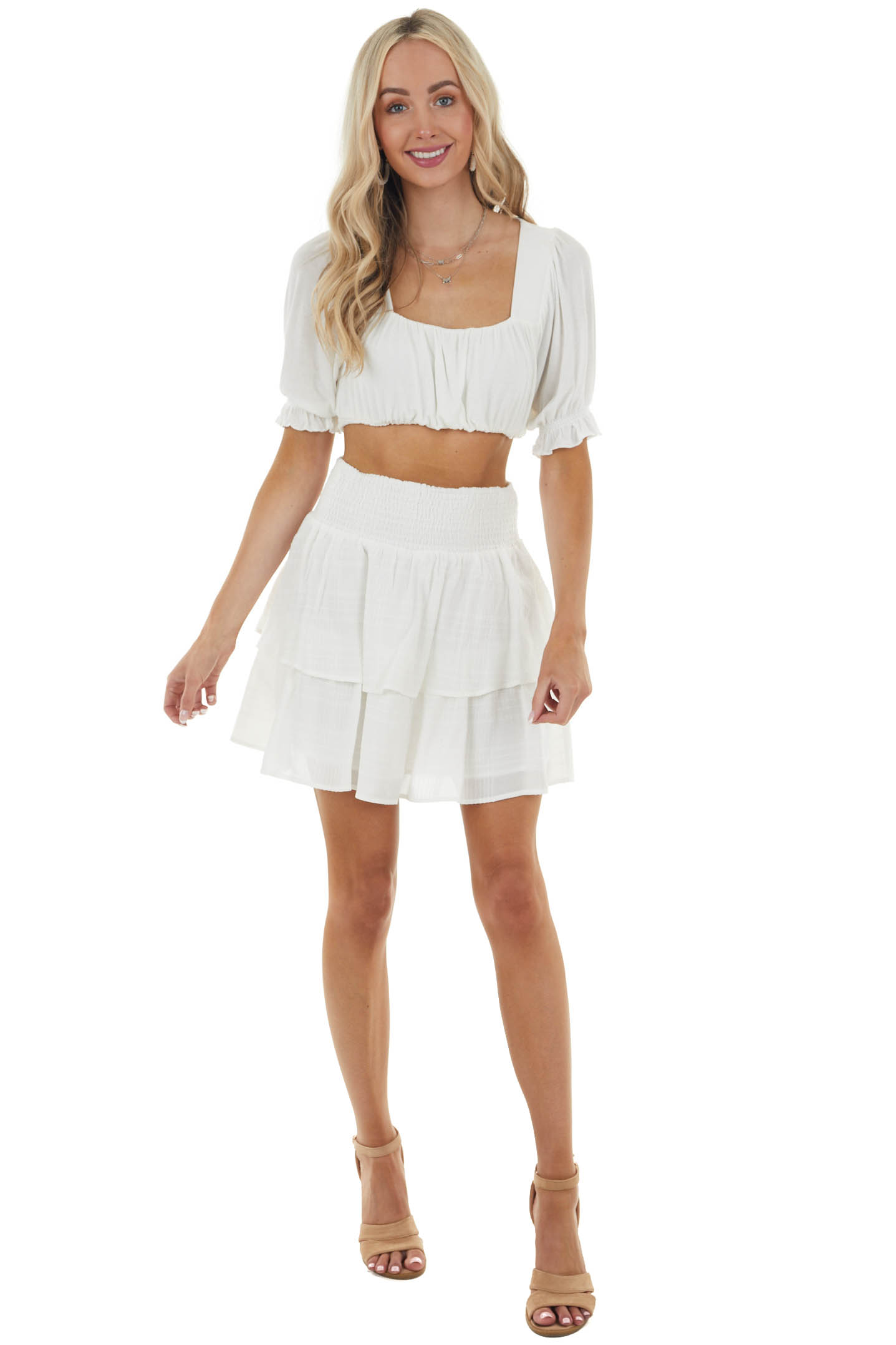 Ivory Tiered Textured Woven Mini Skirt with Smocked Waist