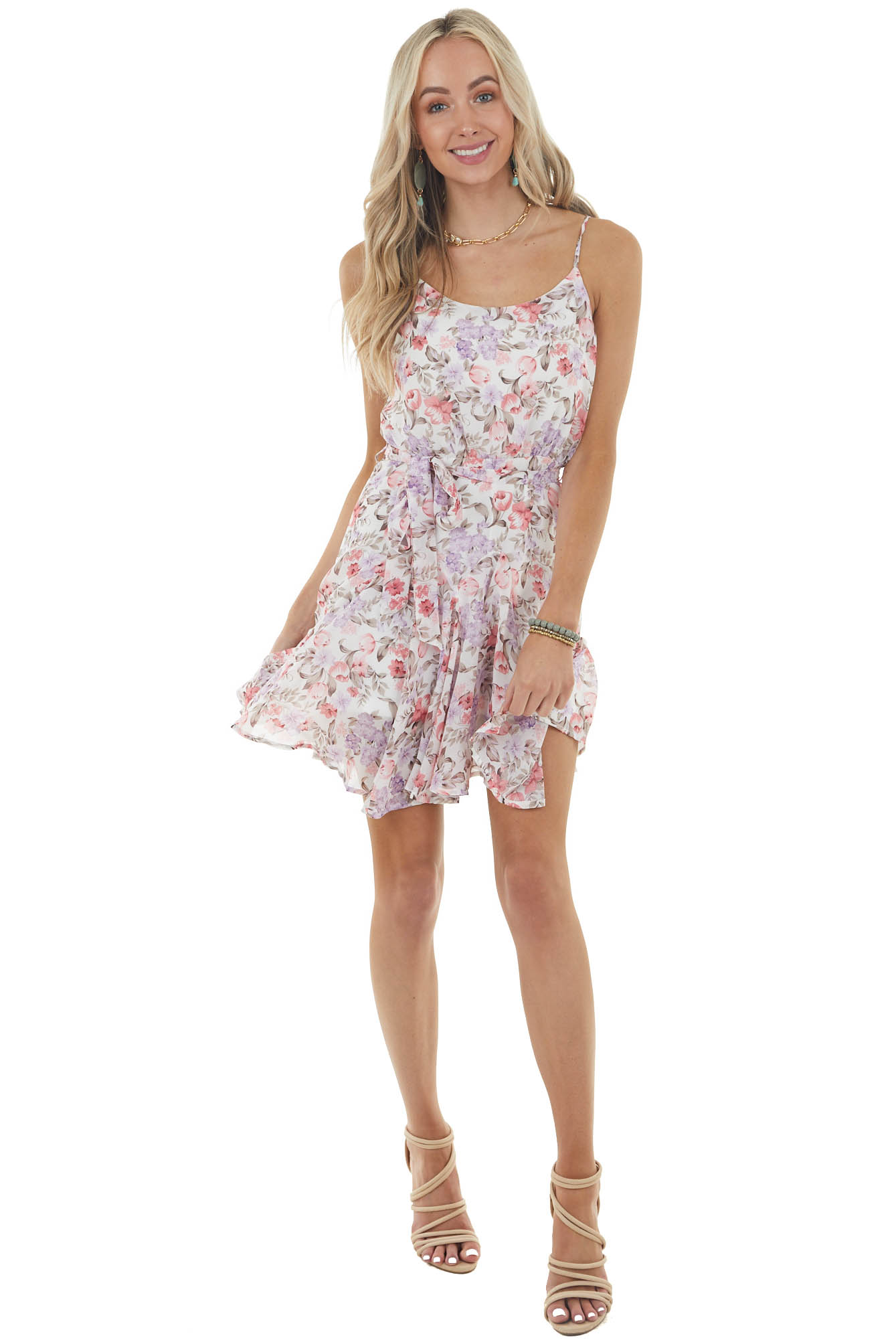 Pearl Floral Sleeveless Woven Mini Dress with Front Tie