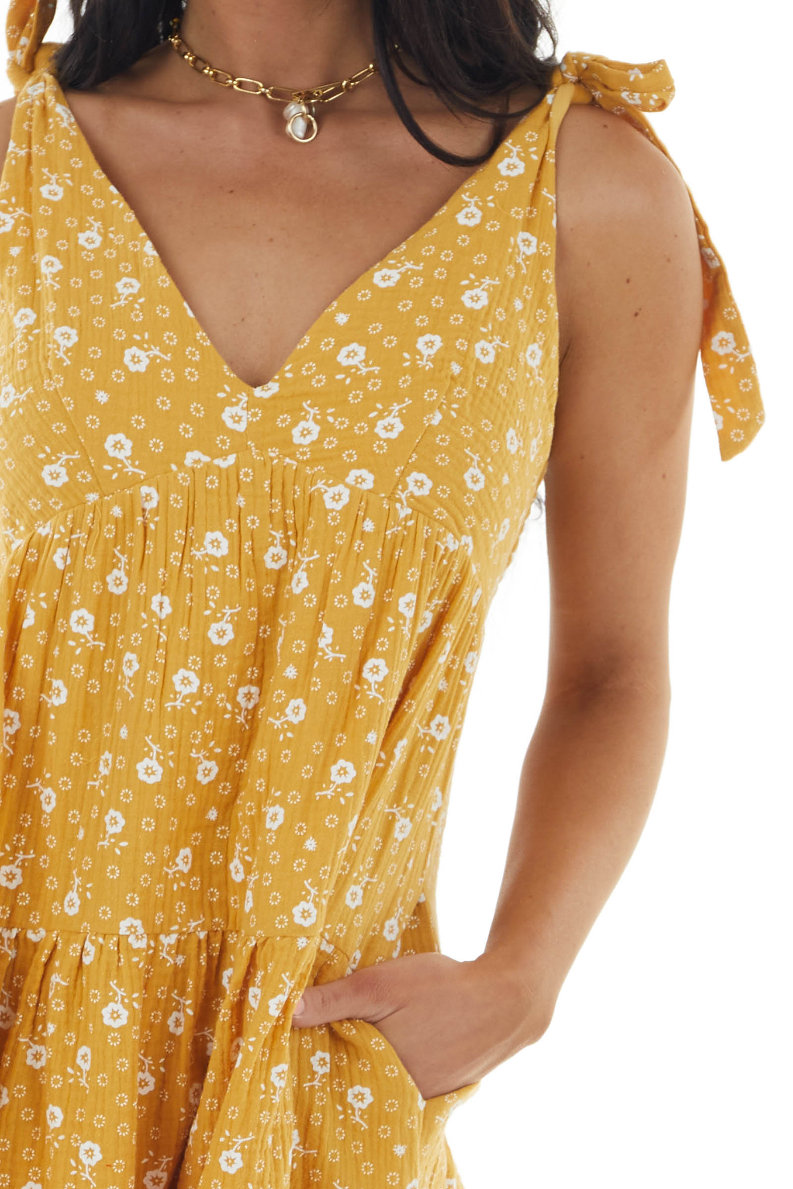 Amber and Ivory Floral Print Woven Short Babydoll Dress