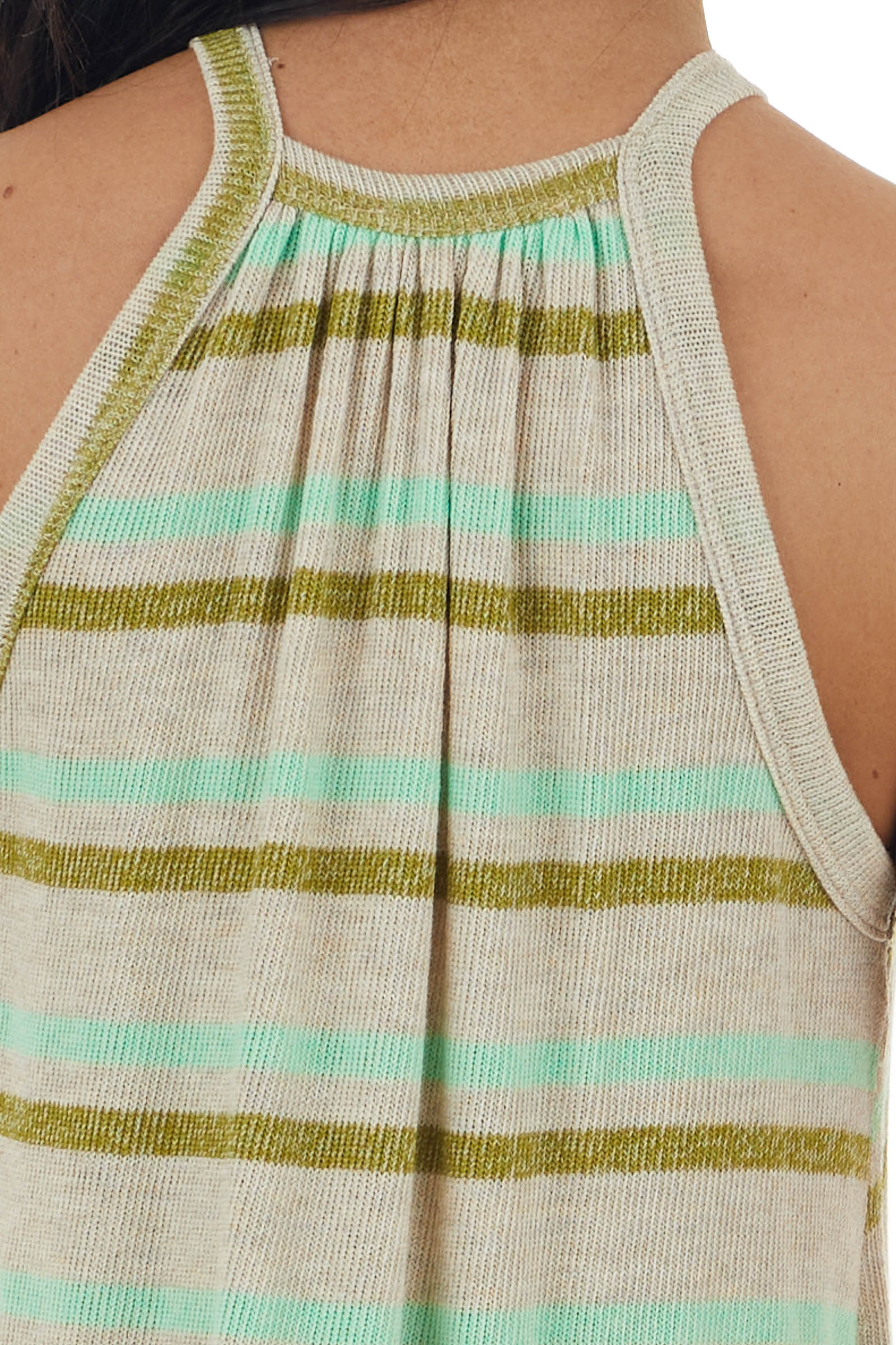 Spring Green and Oatmeal Striped Halter Neck Knit Tank Top