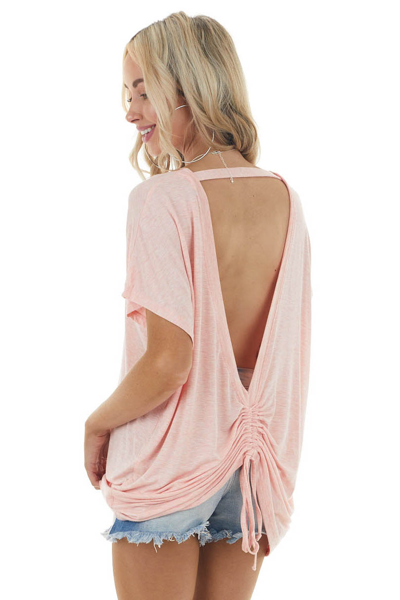 Heathered Coral Cut Out Back Knit Top with Ruching Detail