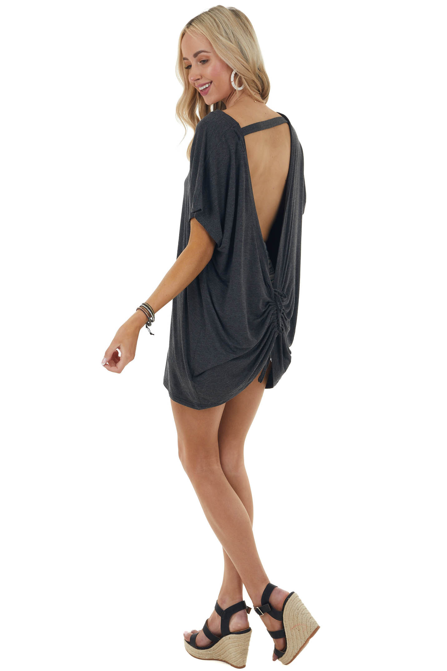 Heathered Charcoal Cut Out Back Knit Top with Ruching Detail