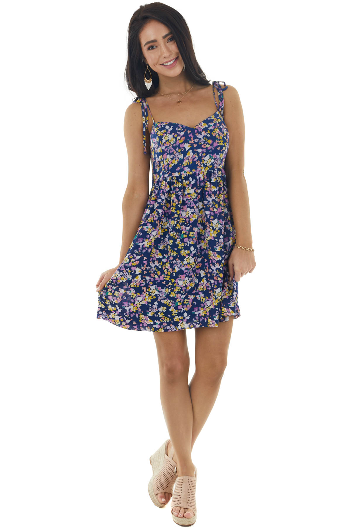 Navy and Floral Print Woven Skater Dress with Tie Straps