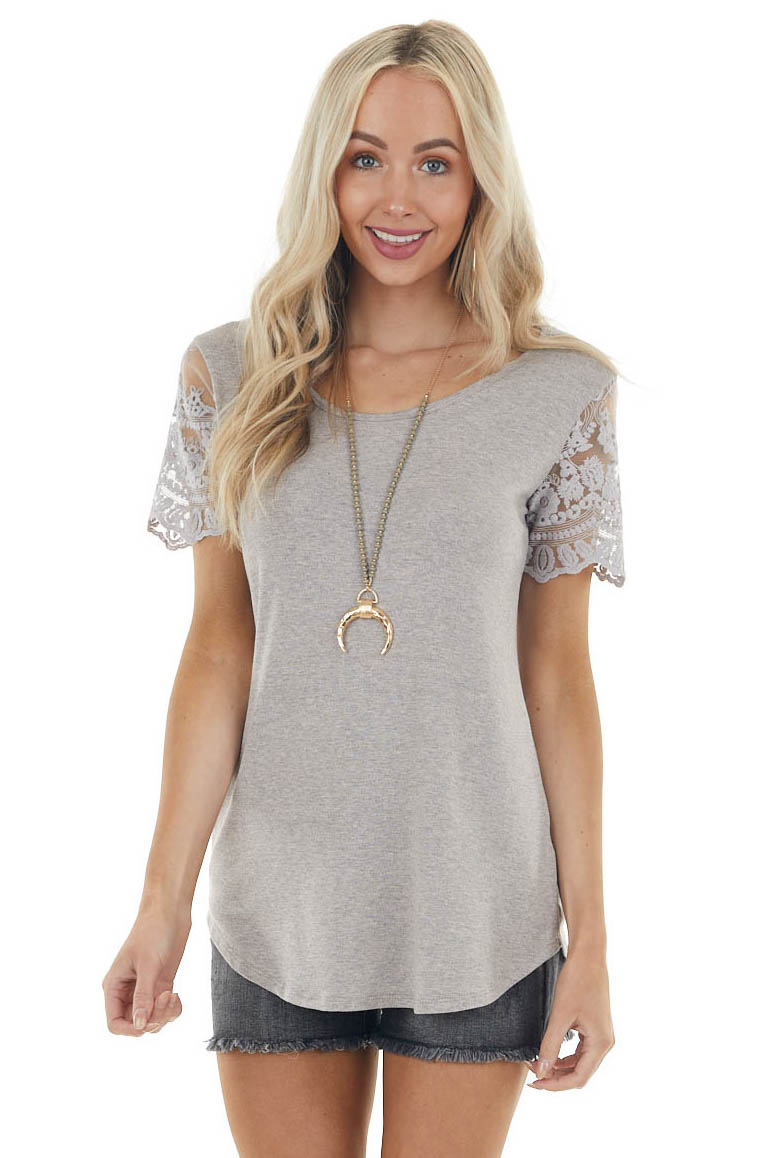 Heather Grey Keyhole Back Knit Top with Short Lace Sleeves