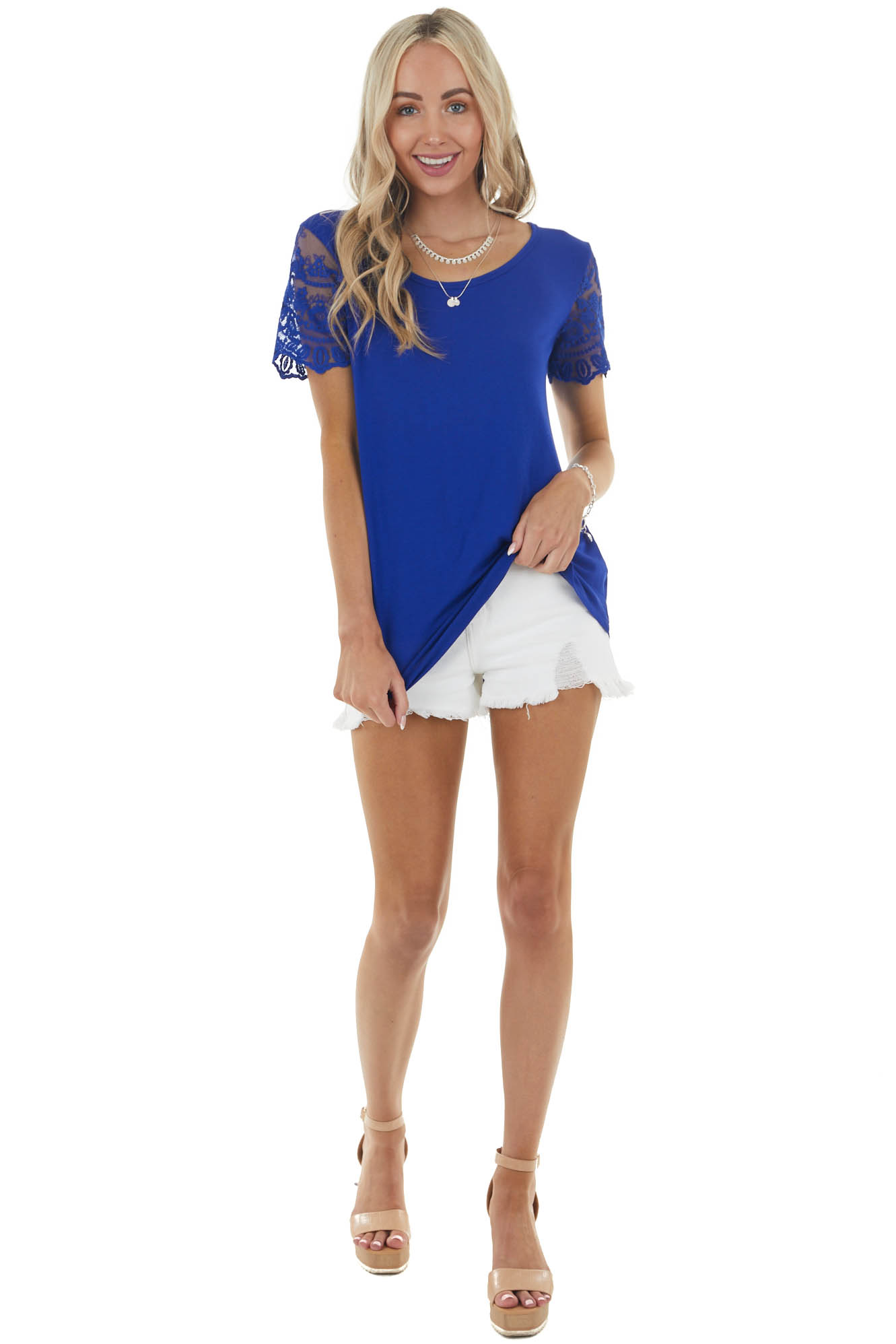 Royal Blue Keyhole Back Knit Top with Short Lace Sleeves