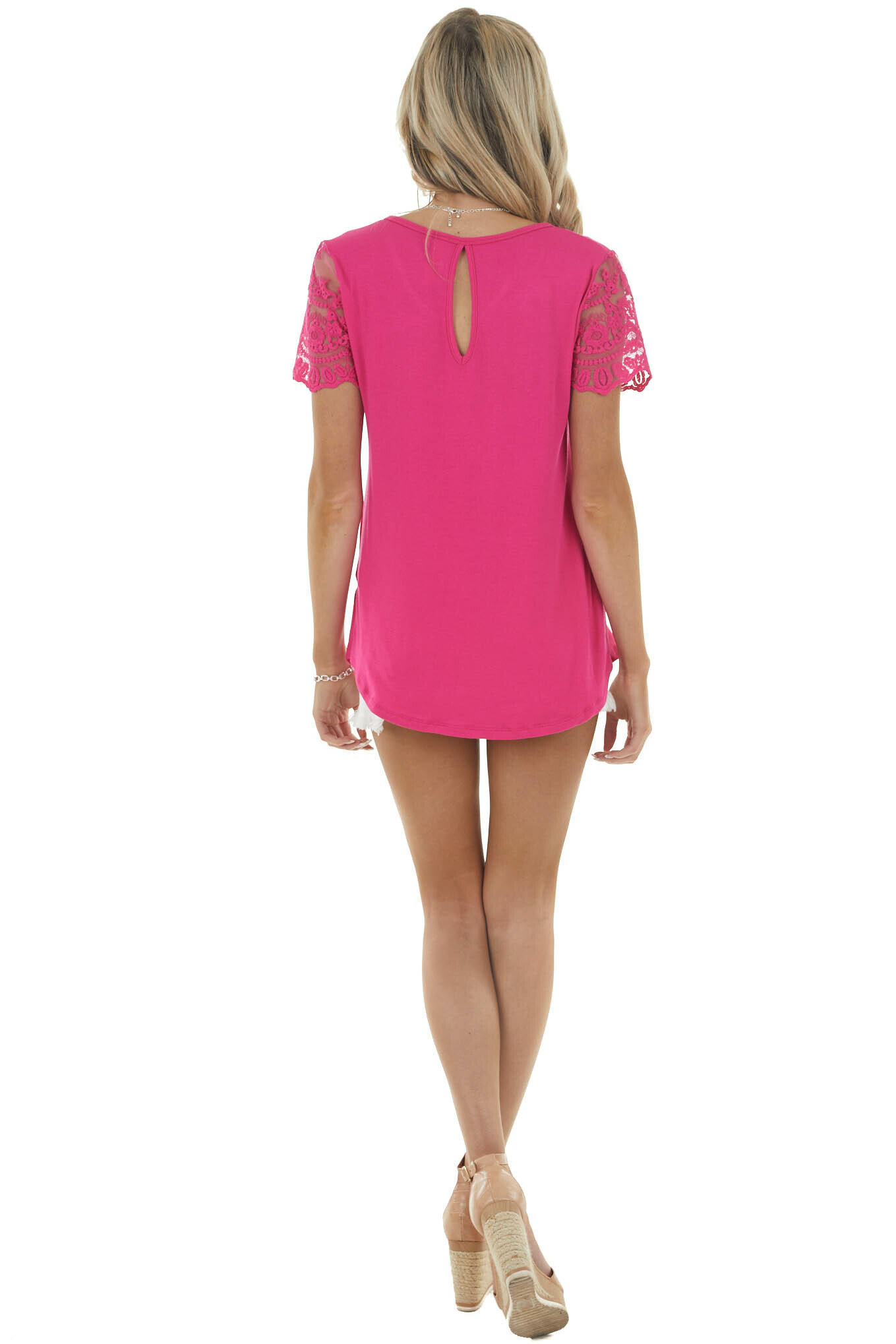 Magenta Keyhole Back Knit Top with Short Lace Sleeves