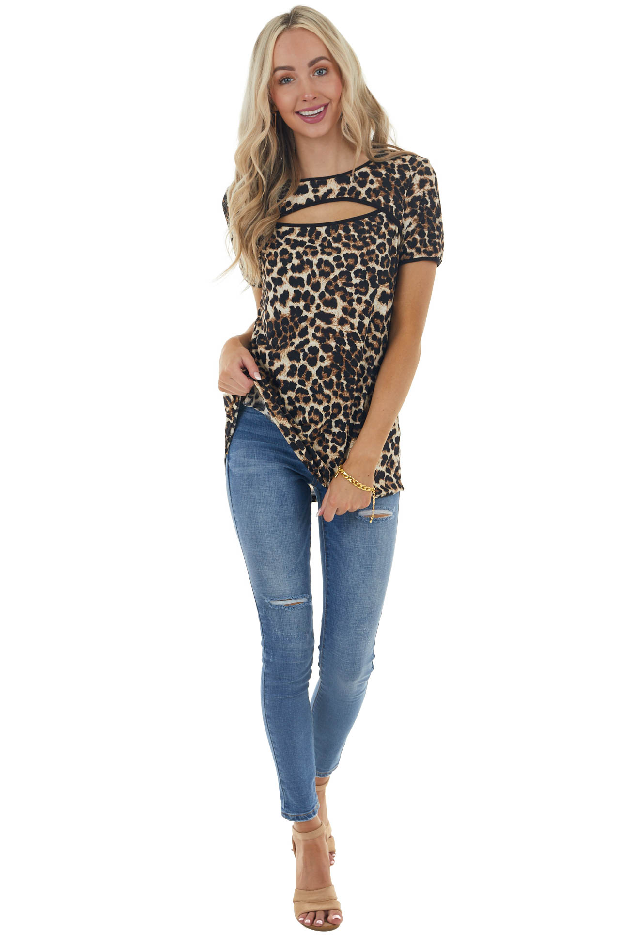 Beige Leopard Print Short Sleeve Top with Cut Out Detail