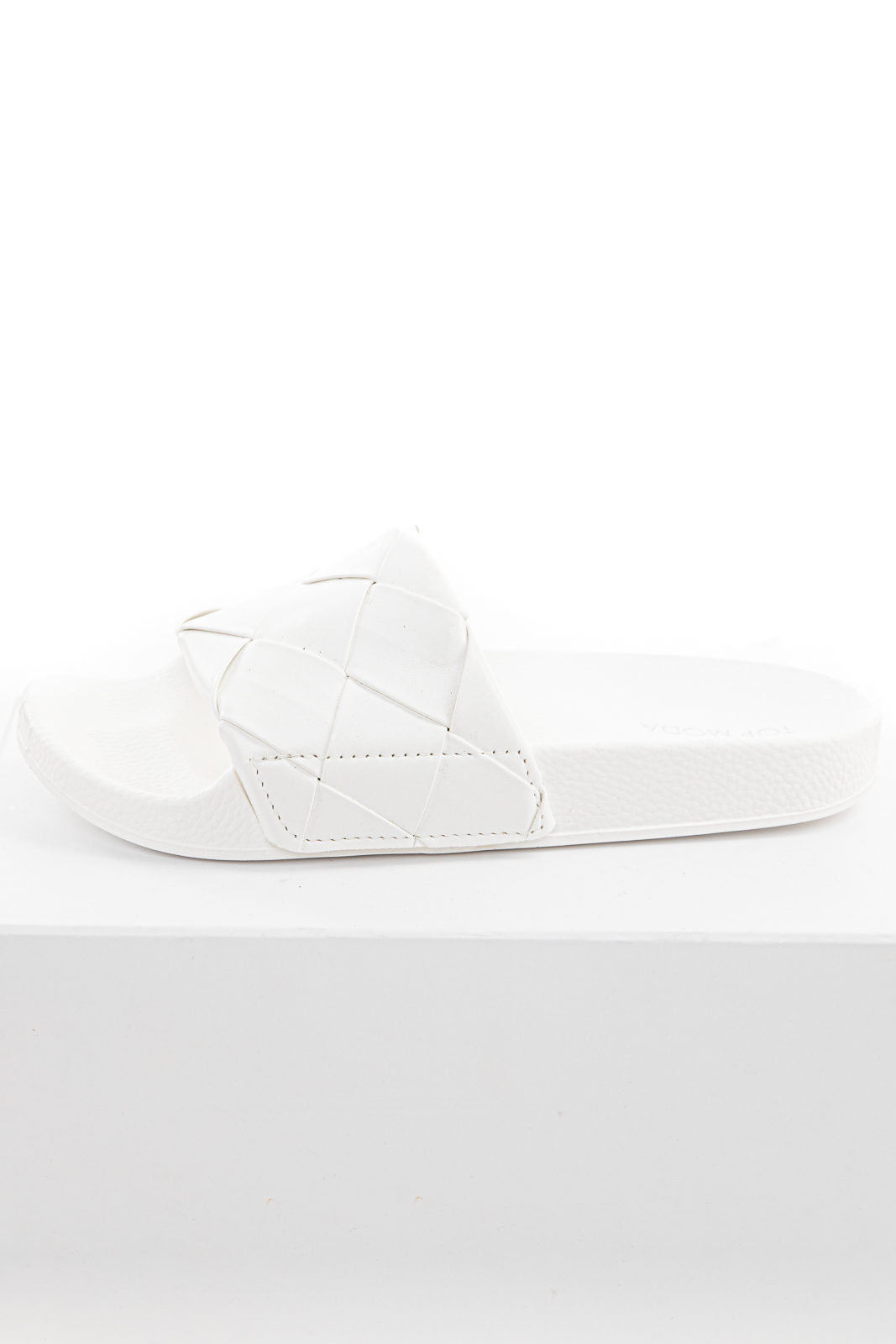 Off White Woven Strap Textured Slip On Sandals