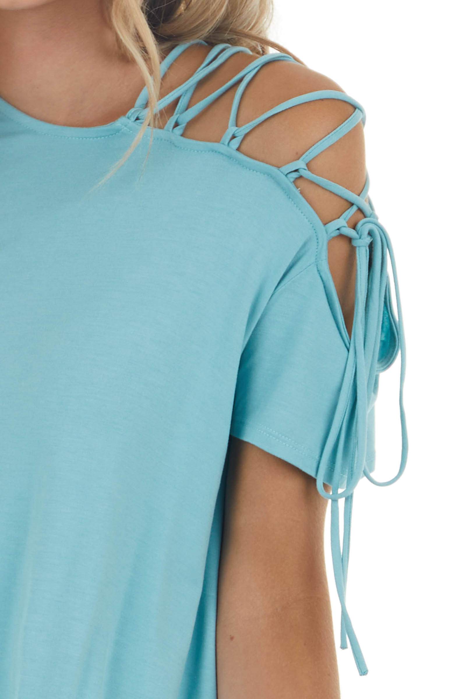Teal Short Sleeve Knit Top with Lace Up Cold Shoulder Detail
