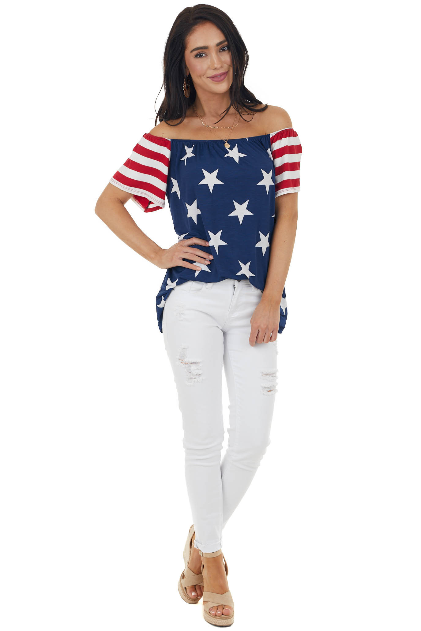 Navy Blue Stars and Stripes Off the Shoulder Knit Top