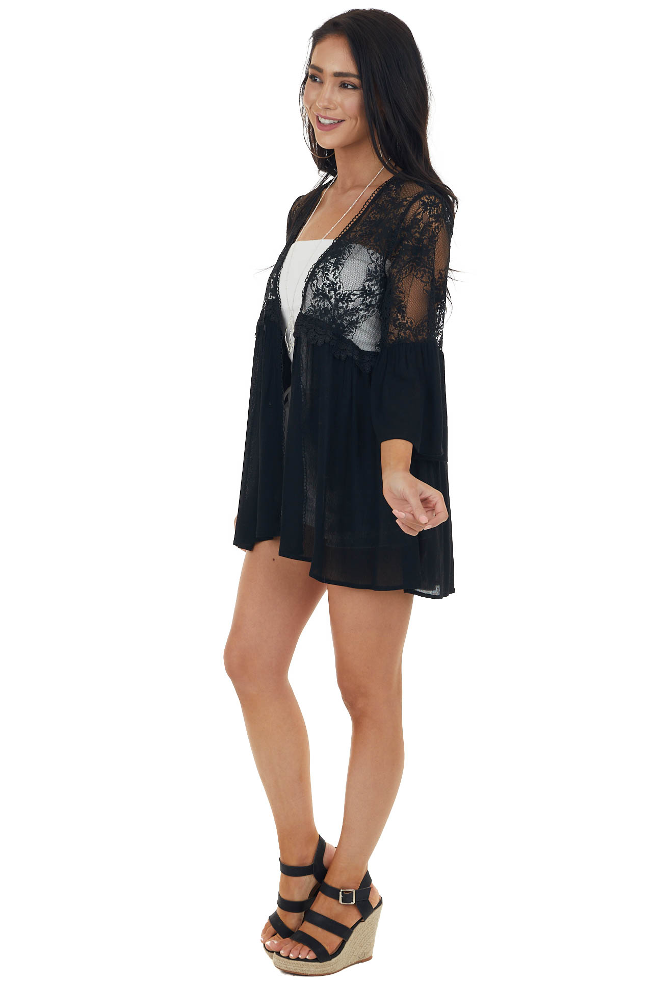 Black 3/4 Sleeve Kimono with Floral Lace Detail