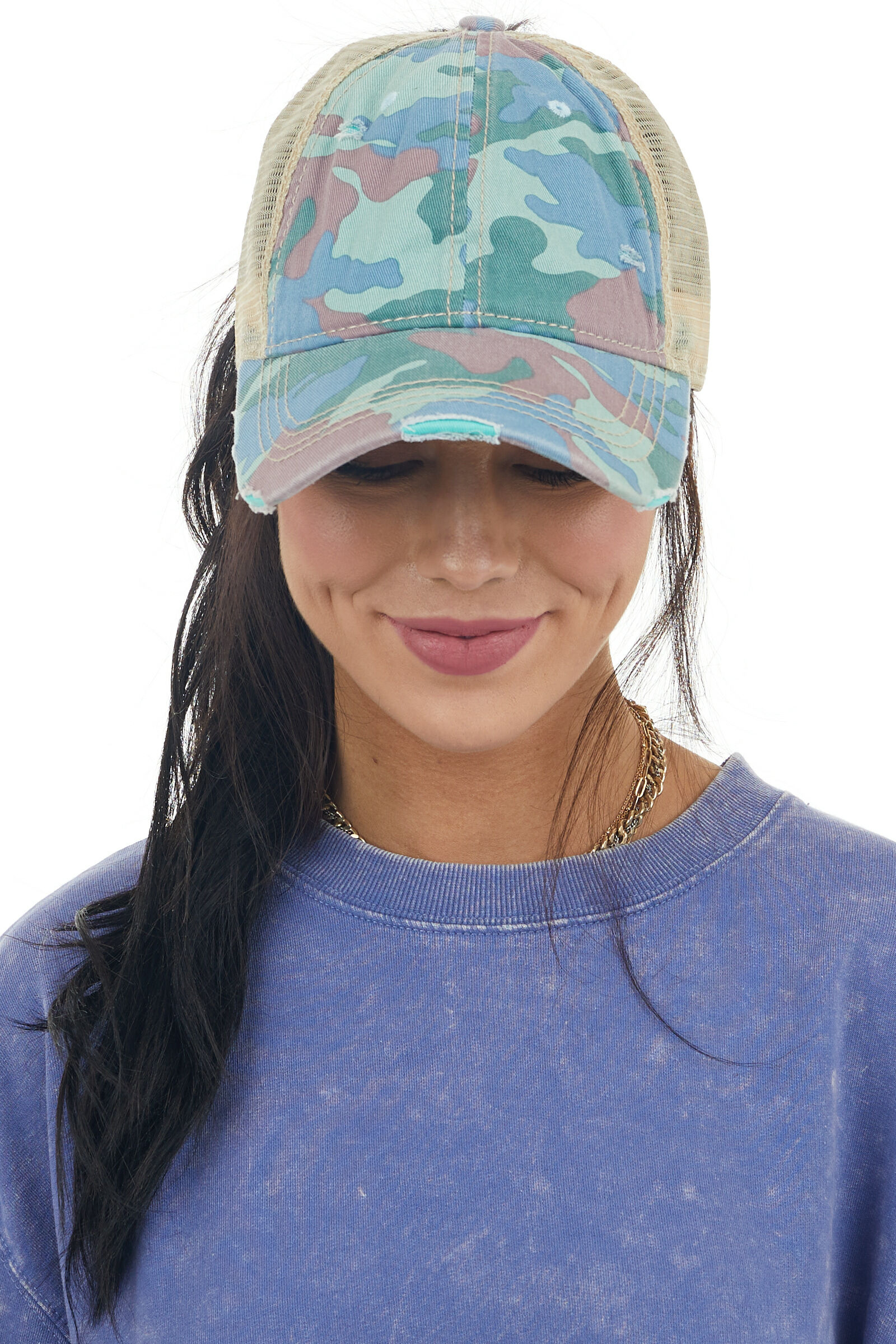 Mint Camo Print Distressed Baseball Cap with Mesh Back