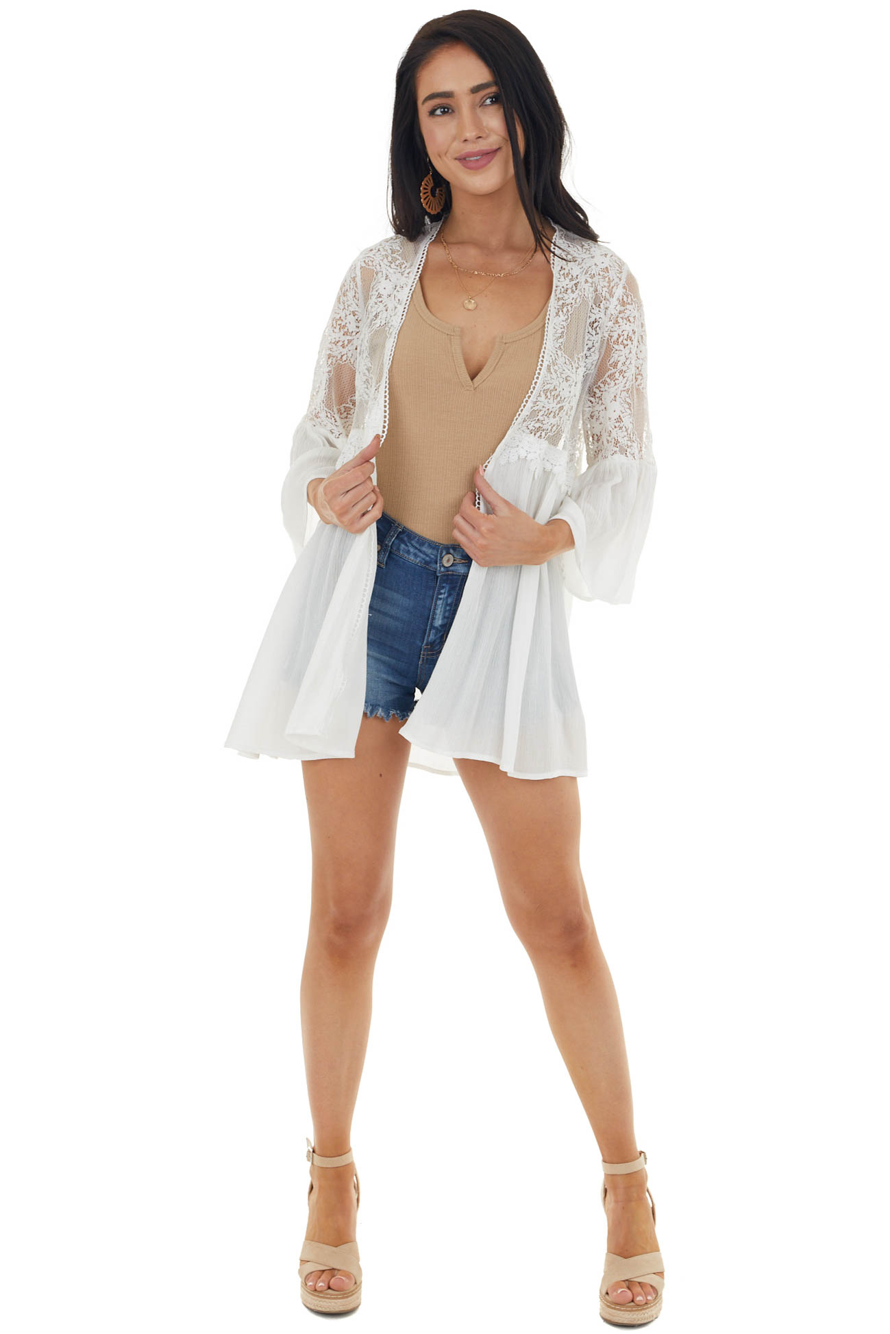 Ivory 3/4 Sleeve Kimono with Floral Lace Detail