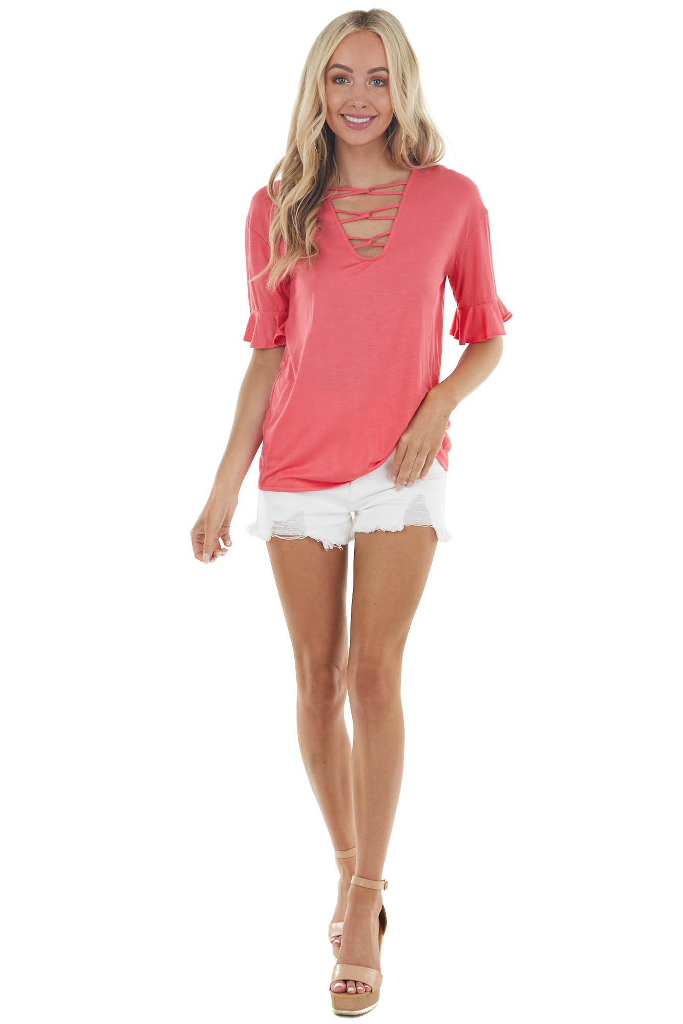 Coral Short Ruffle Sleeves Knit Top with Chest Cut Out