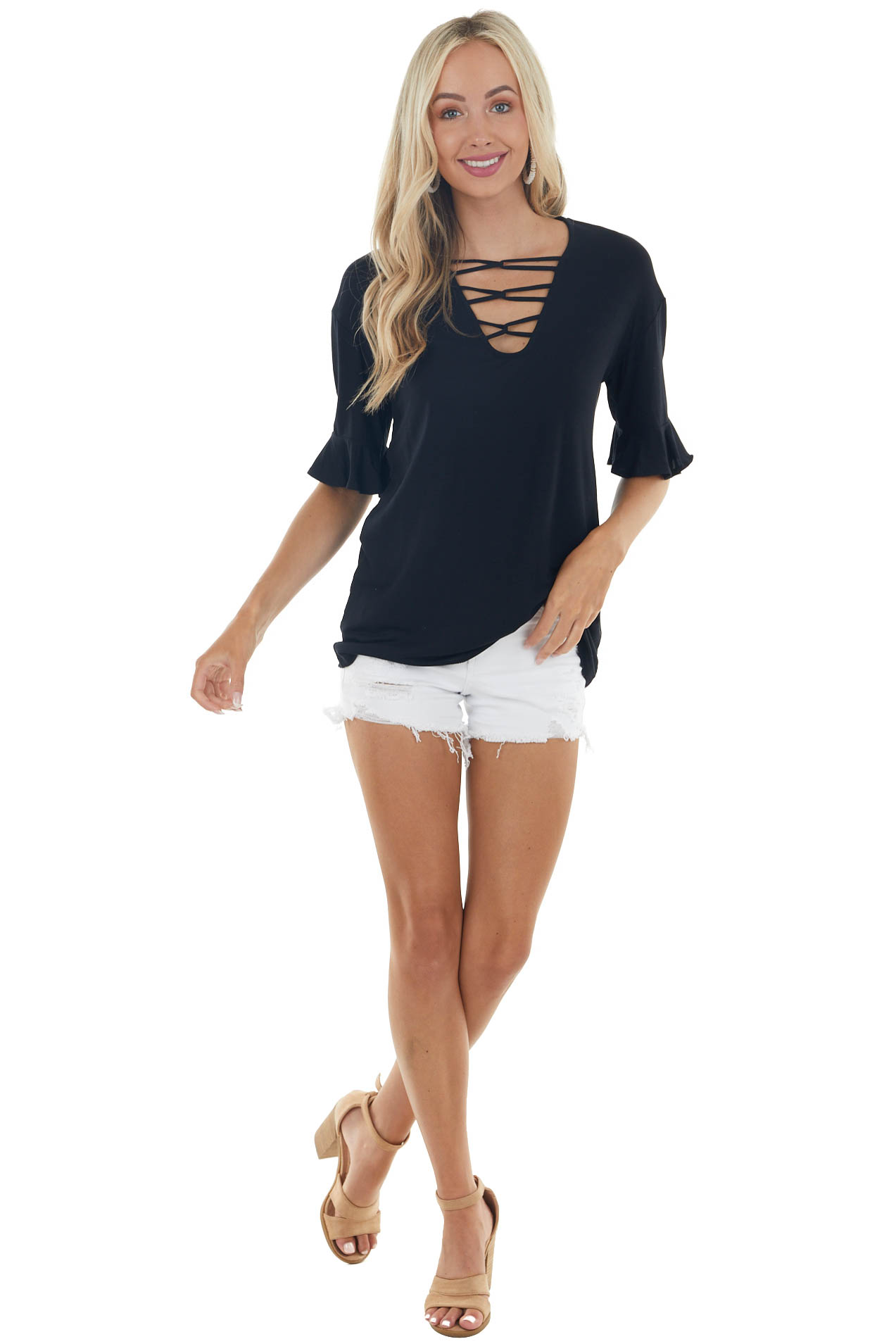Black Short Ruffle Sleeves Knit Top with Chest Cutout