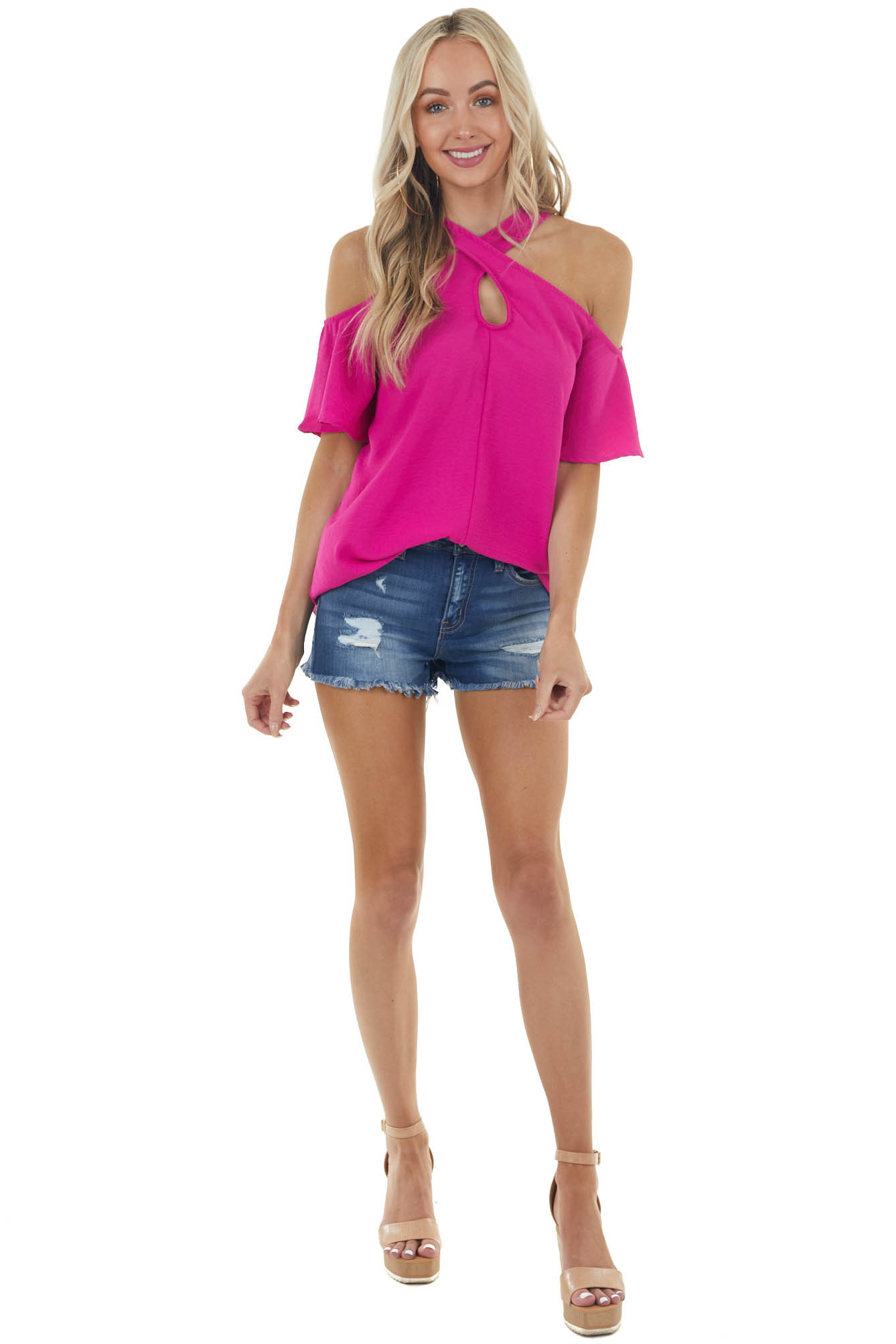 Magenta Cold Shoulder Blouse with Criss Cross Halter Neck