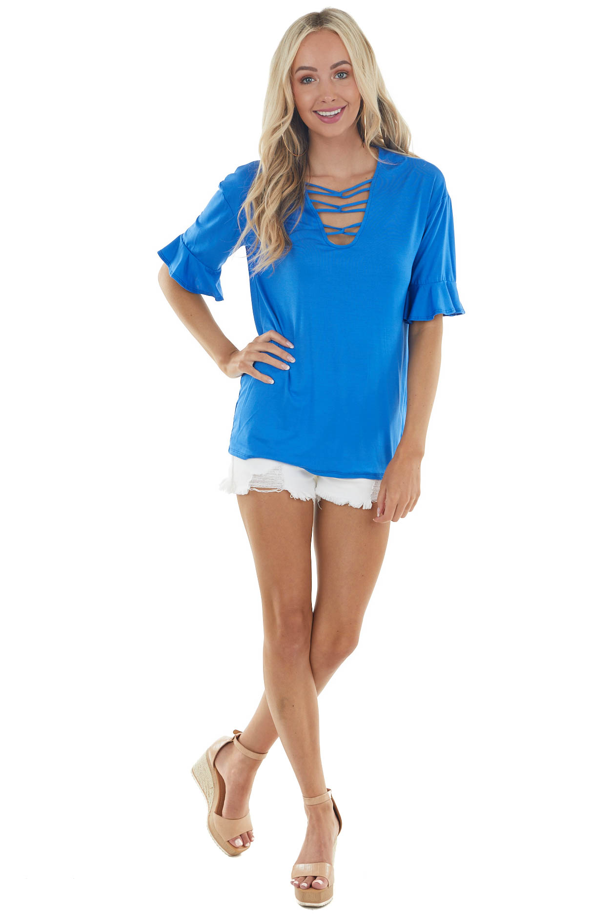 Royal Blue Short Ruffle Sleeves Knit Top with Chest Cutout