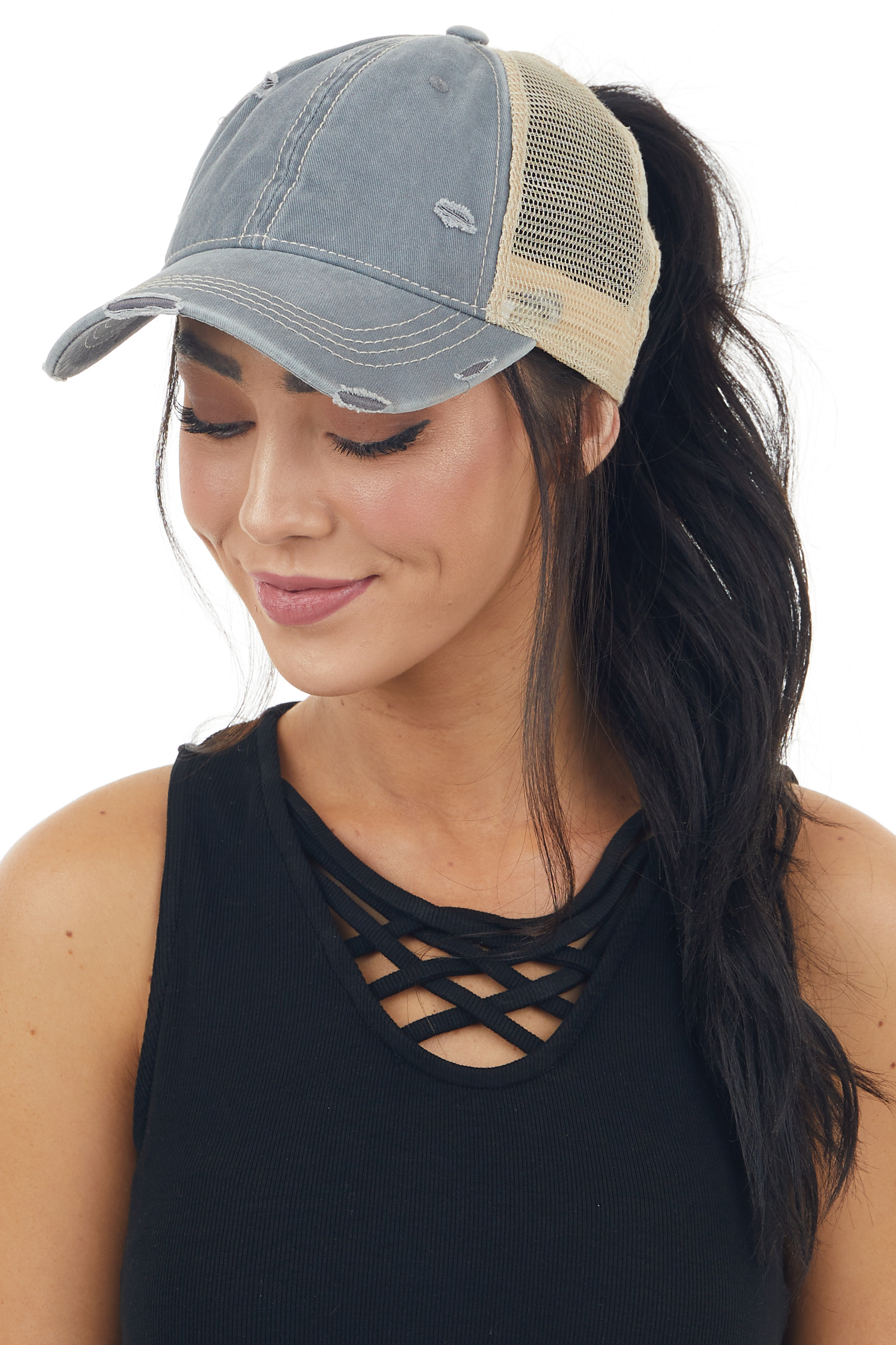 Vintage Stone Grey Distressed Trucker Cap with Mesh Detail