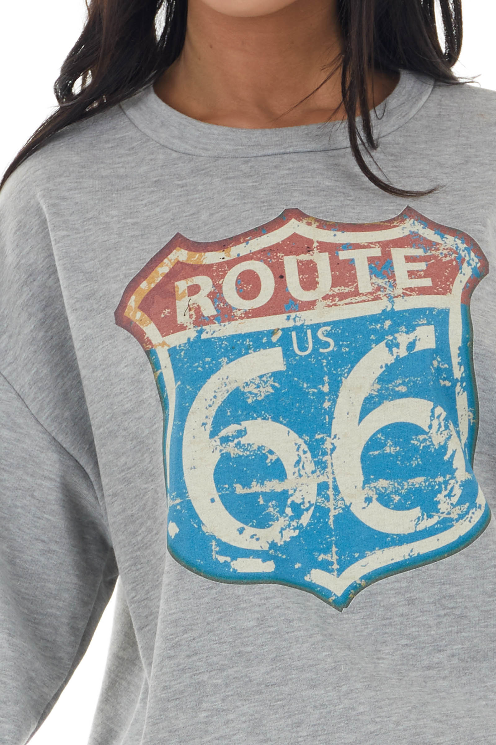 "Heather Grey Long Sleeve ""Route 66"" Graphic Knit Sweatshirt"
