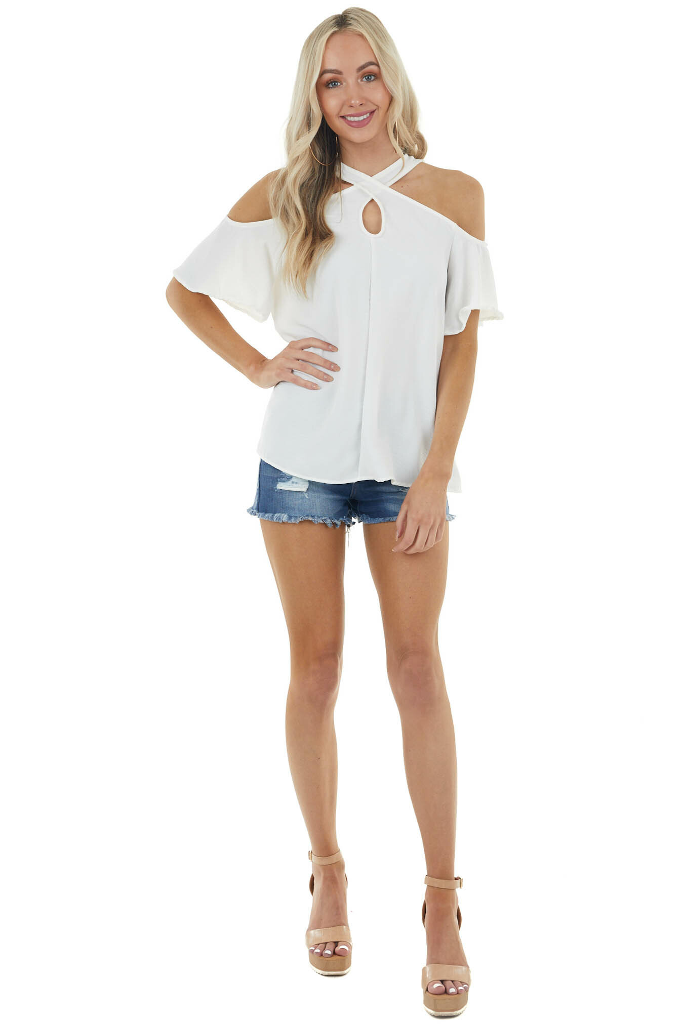 Ivory Cold Shoulder Blouse with Criss Cross Halter Neck