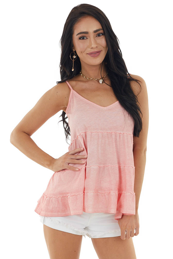 Vintage Coral Sleeveless Tiered Knit Top with V Neckline