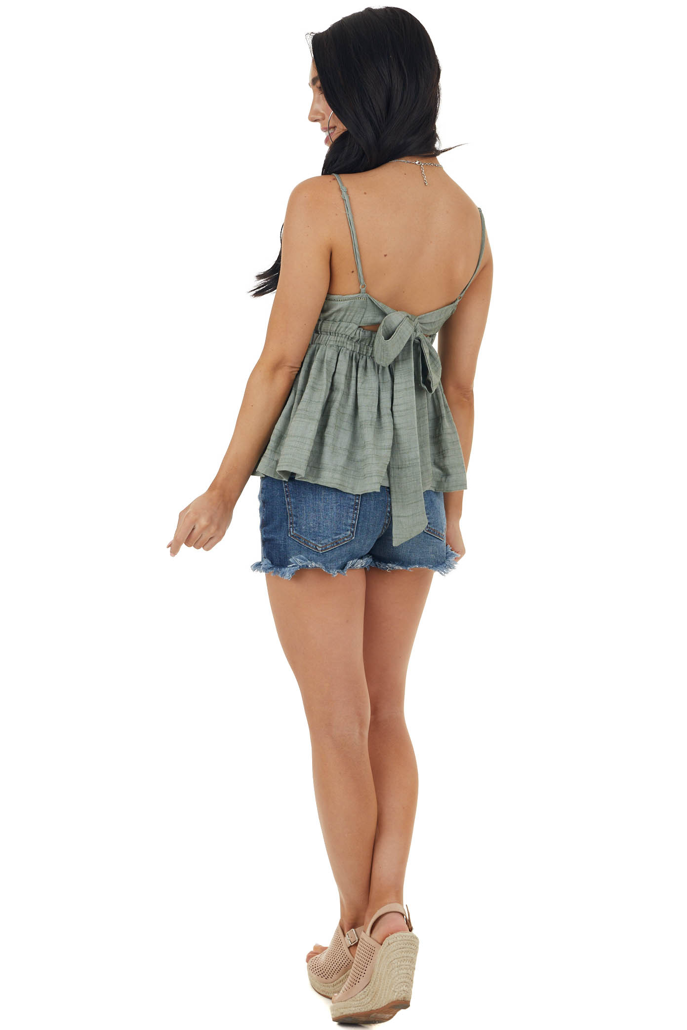 Sage Sleeveless Open Back Tie Blouse with Cut Out Trim