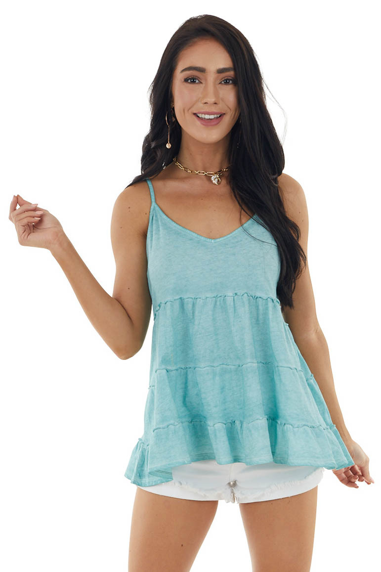 Vintage Teal Sleeveless Tiered Knit Top with V Neckline