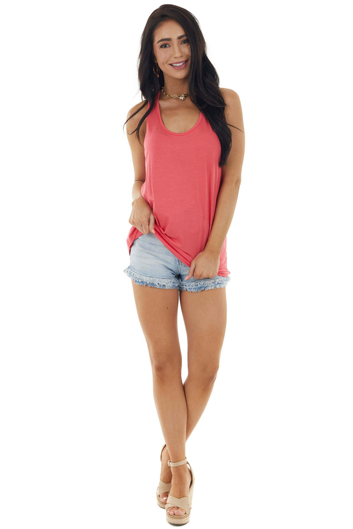 Bright Punch Sleeveless Top with Criss Cross Racerback