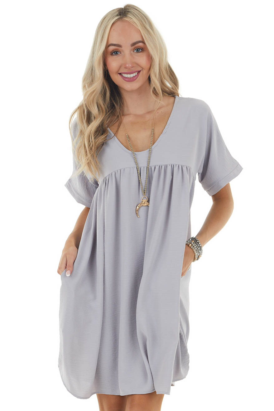 Dove Grey Babydoll Mini Dress with Drop Shoulder Sleeves