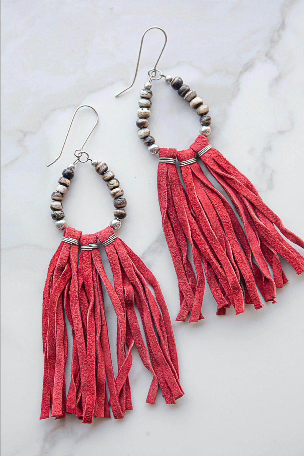 Cranberry Tassel Dangle Earring with Wood Bead Details