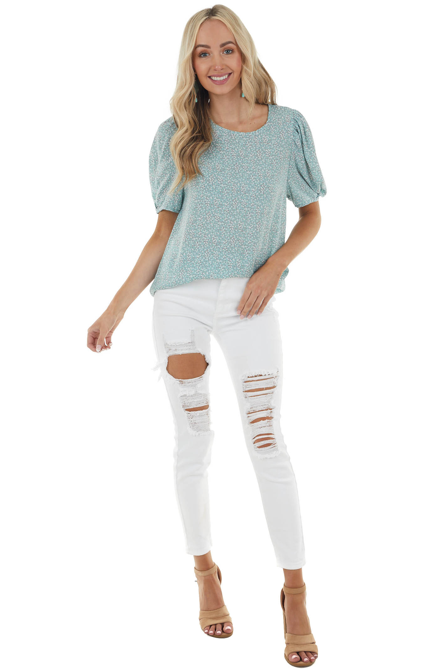 Light Aqua Ditsy Floral Blouse with Short Bubble Sleeves