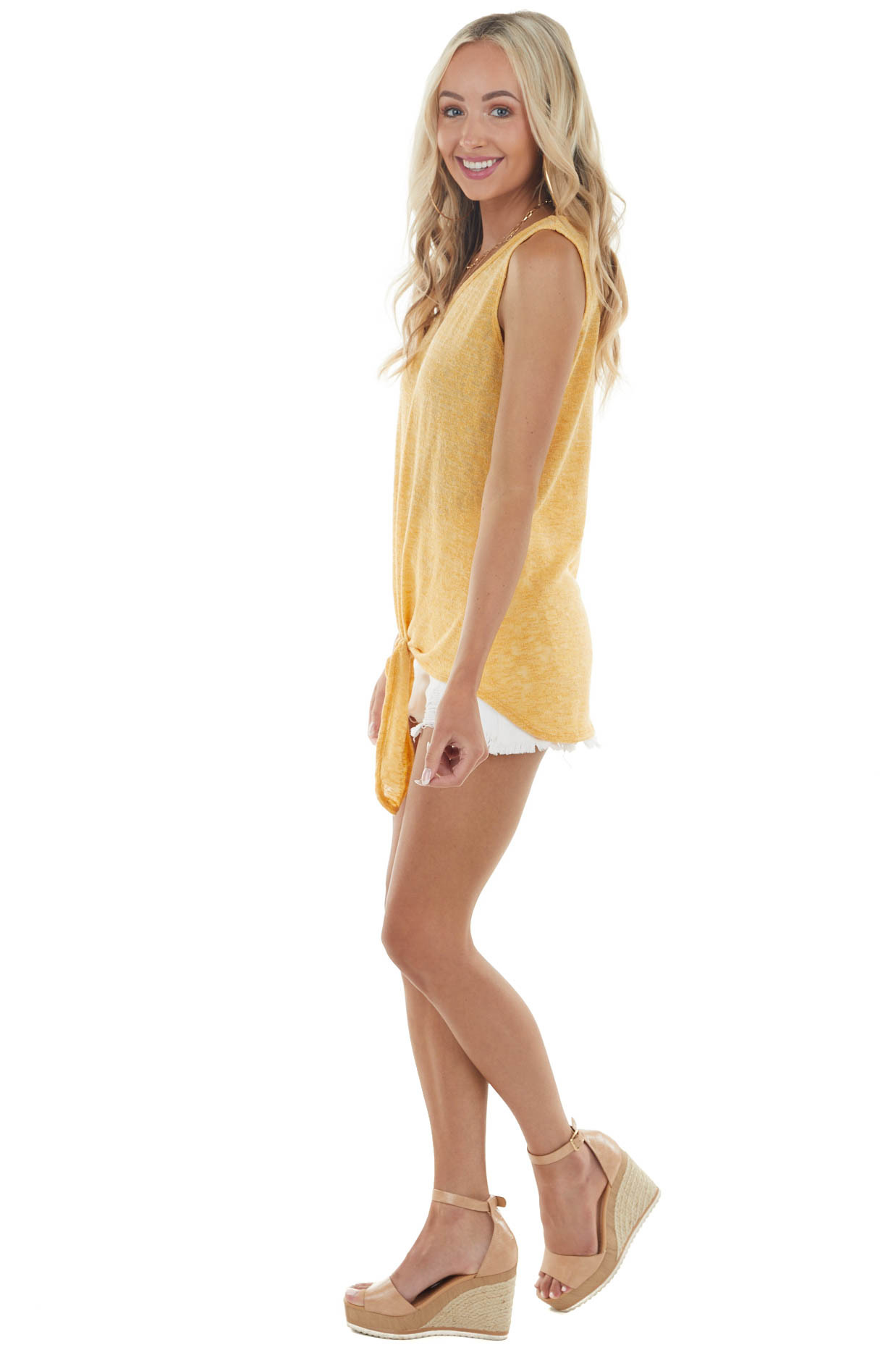 Heathered Amber Sleeveless Knit Top with Front Tie Detail
