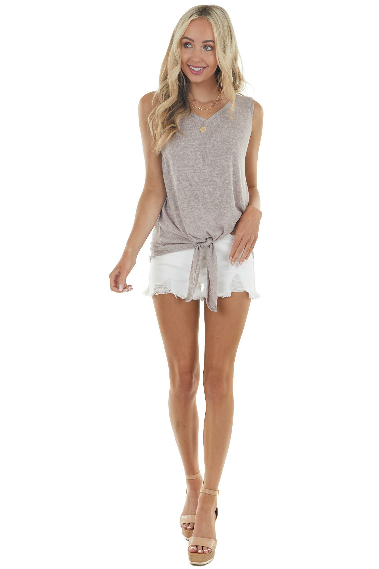 Heathered Taupe Sleeveless Knit Top with Front Tie Detail